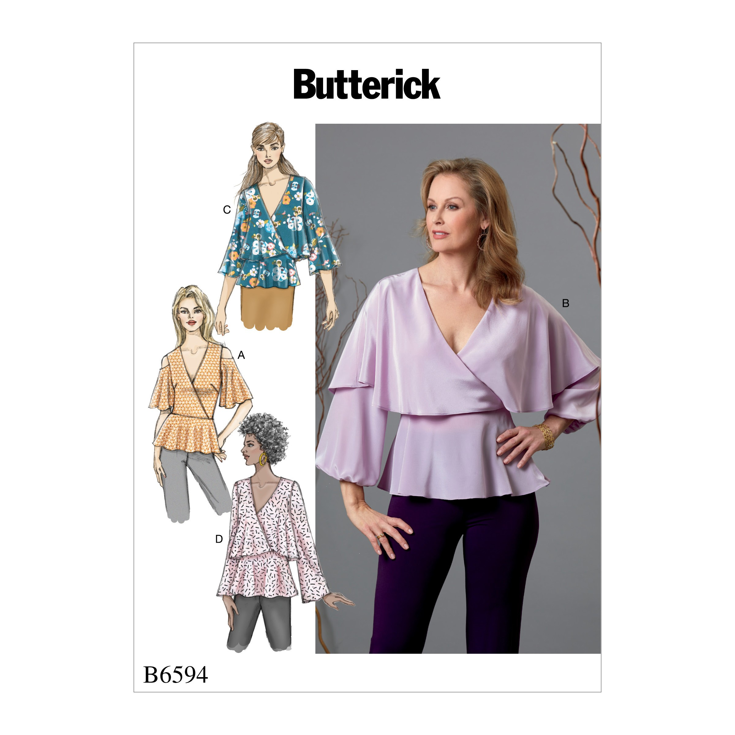 Butterick Sewing Pattern 6594 Misses' Tops with Sleeve & Overlay Options