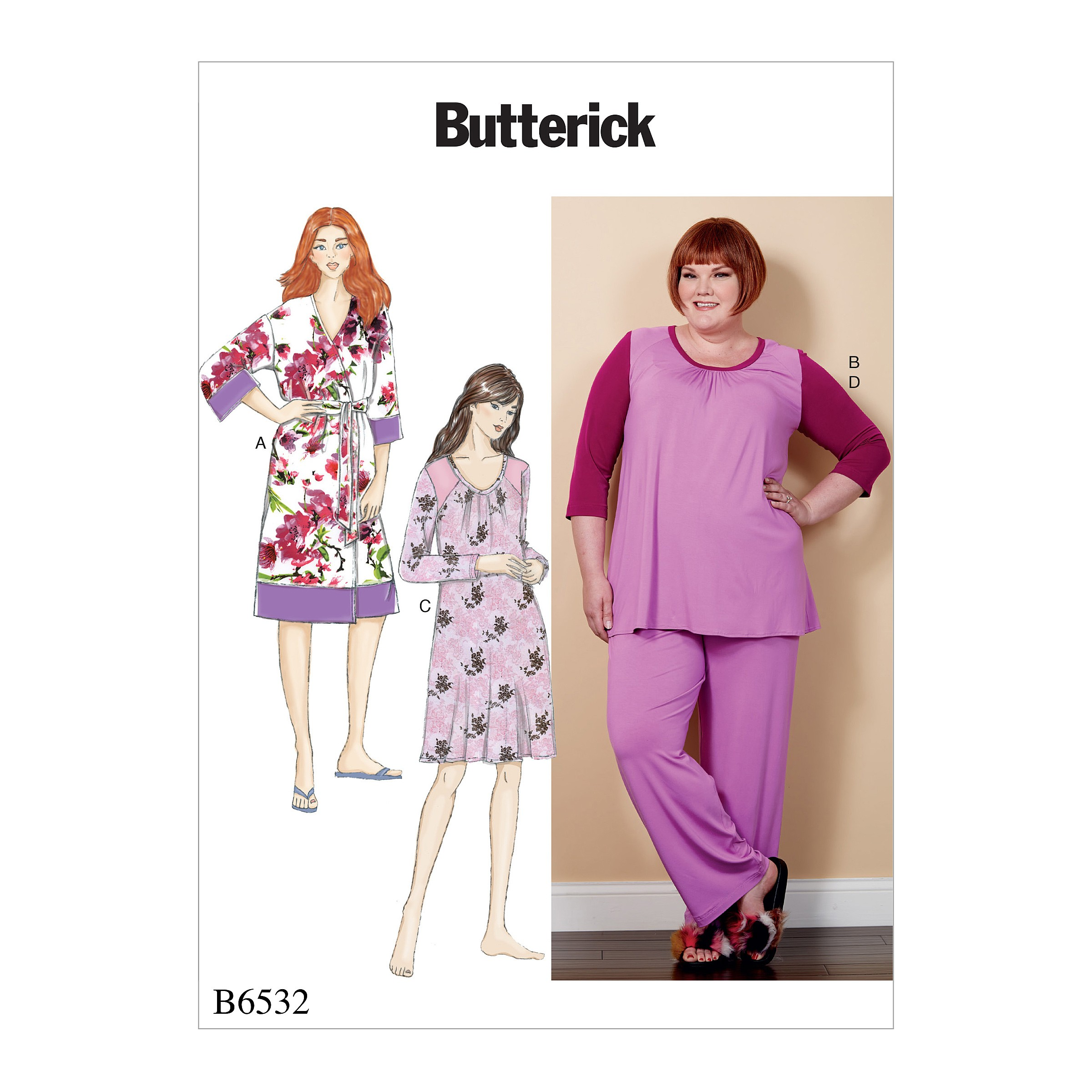 Butterick Sewing Pattern 6532 Misses' Robe, Sash, Top, Dress & Trousers