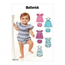 Butterick Sewing Pattern 6549 Infants Romper, Dress And Panties