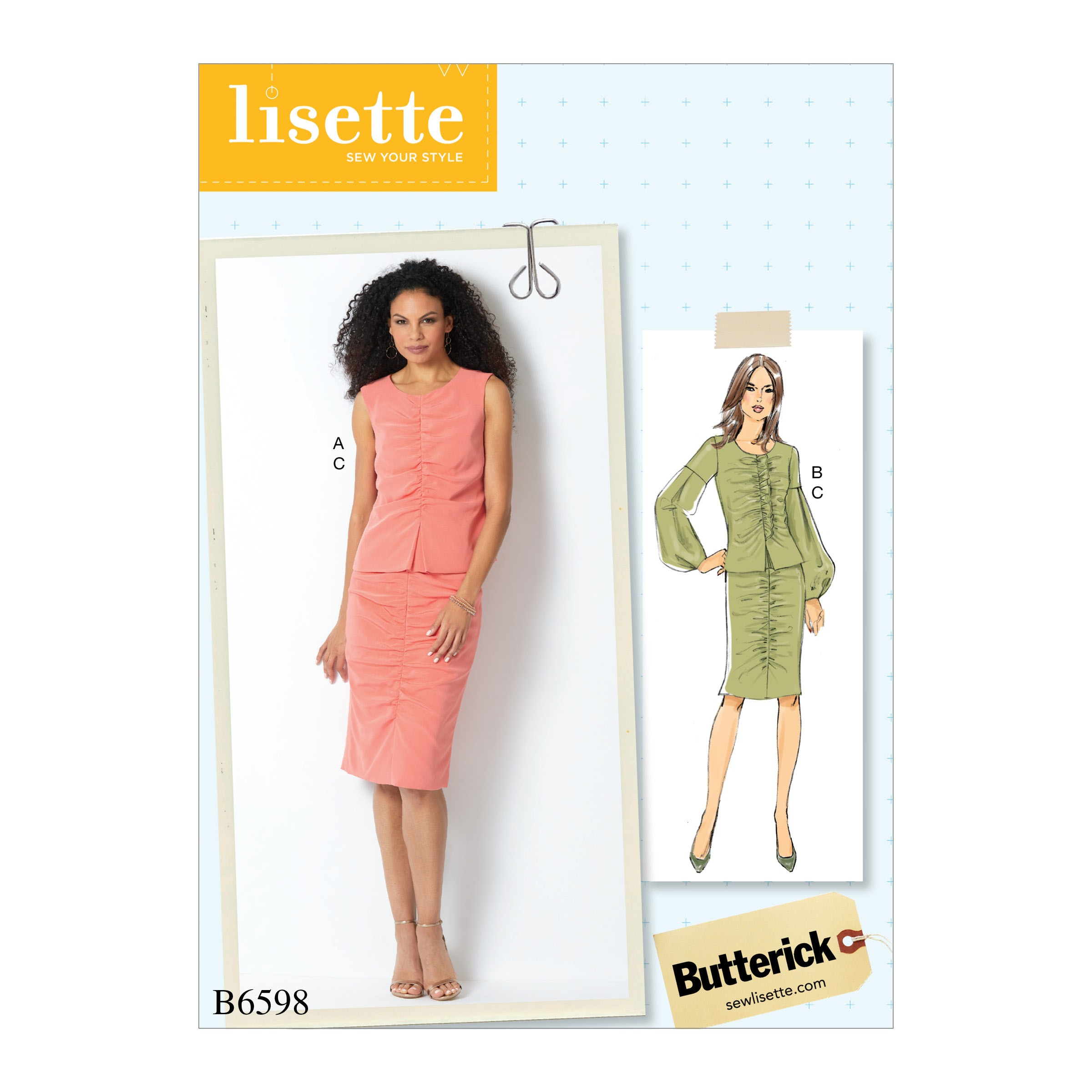 Butterick Sewing Pattern 6598 Misses' Top and Skirt with Front Gather Detail
