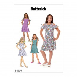 Butterick Sewing Pattern 6550 Girls Dress