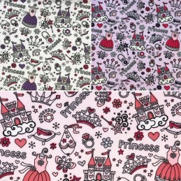 Polycotton Fabric Princess Castle Fairytales Wand Tiara Fairy Accessories