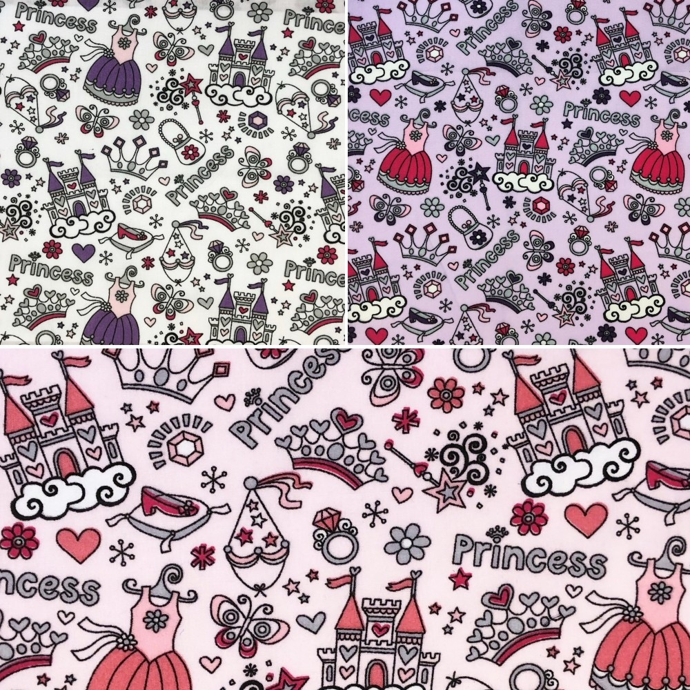 Polycotton Fabric Princess Castle Fairytales Accessories Pink
