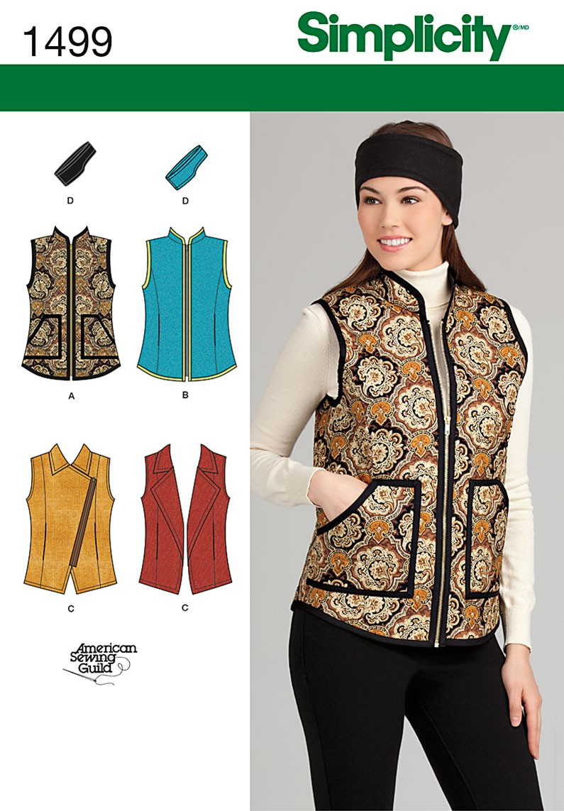 Simplicity Sewing Pattern 1499 Women's Misses' Waistcoat Jacket And Headband