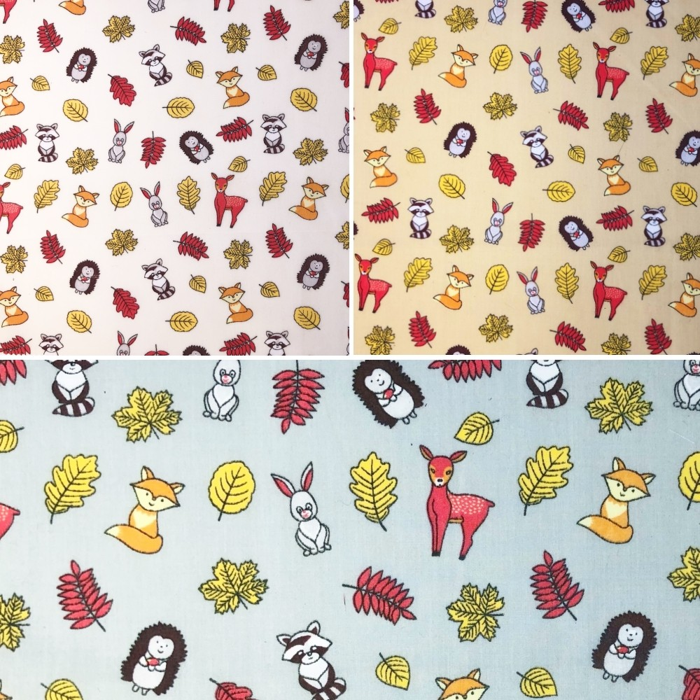 Polycotton Fabric Forest Animals Autumn Fall Badger Fox Rabbit Hedgehog Deer Silver