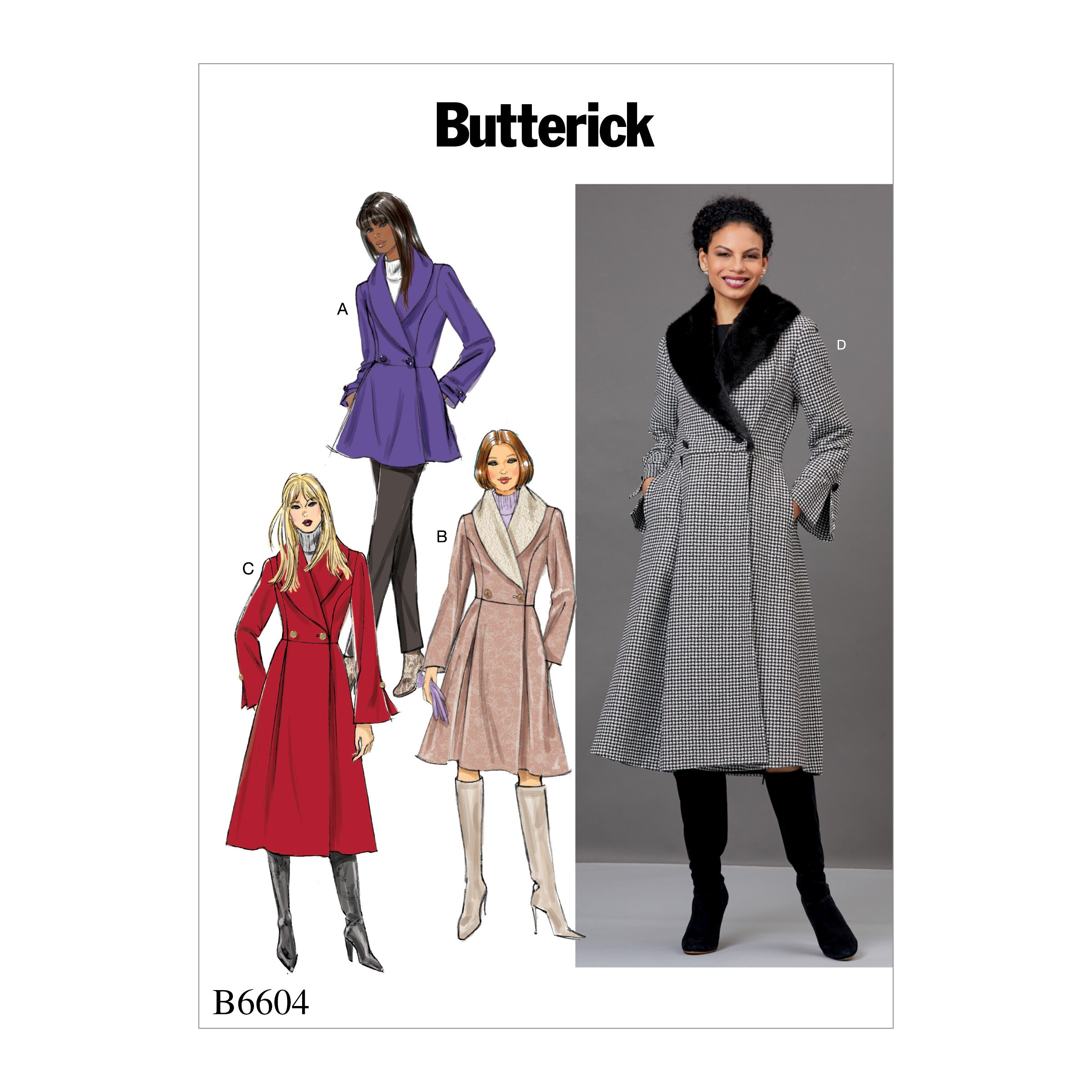 Butterick Sewing Pattern 6604 Misses' Jackets and Coats with Shawl Collar