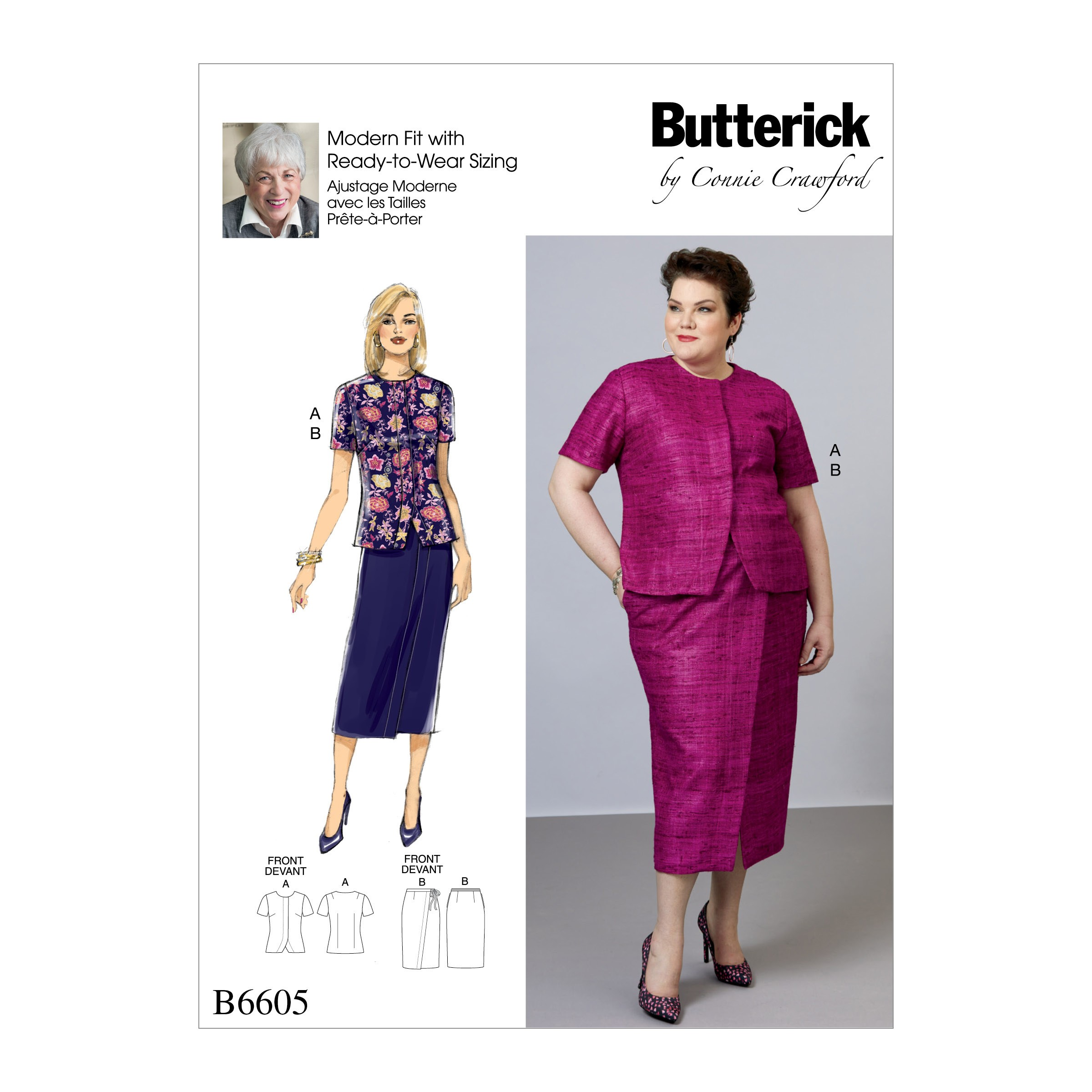 Butterick Sewing Pattern 6605 Misses' and Women's Blouse and Wrap Skirt