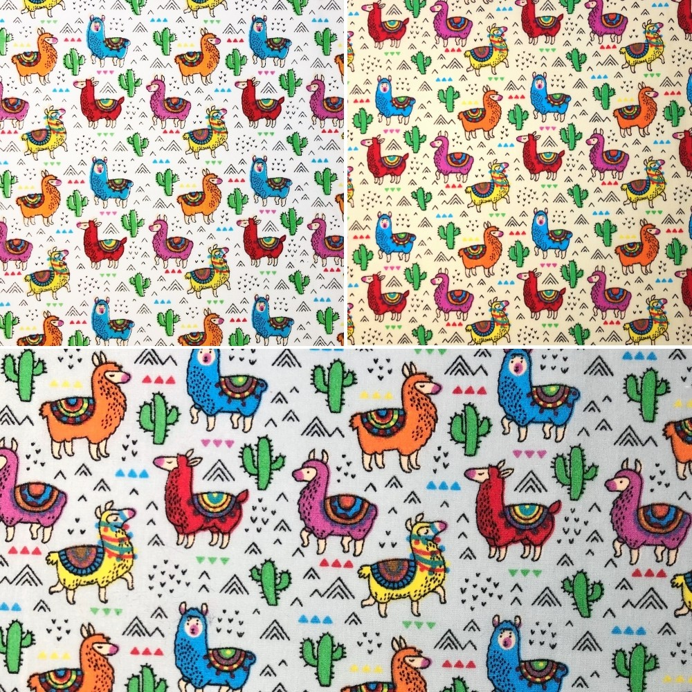 Polycotton Fabric Cactus Llama Assorted Pattern Silver