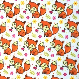 Polycotton Fabric Cute Baby Foxes With Flowers Animals Forest Woodland White