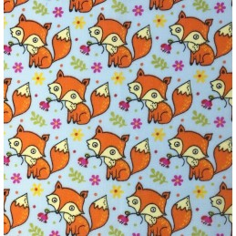 Polycotton Fabric Cute Baby Foxes With Flowers Animals Forest Woodland Sky