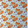 Polycotton Fabric Cute Baby Foxes With Flowers Animals Forest Woodland