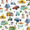 100% Cotton Fabric Nutex Beach Holiday Get Away Caravan