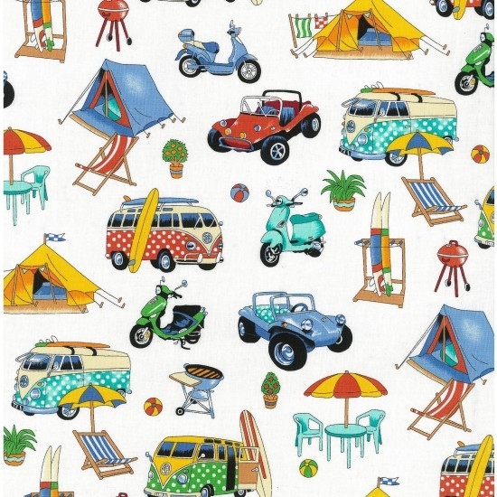 100% Cotton Fabric Nutex Beach Holiday Get Away Caravan