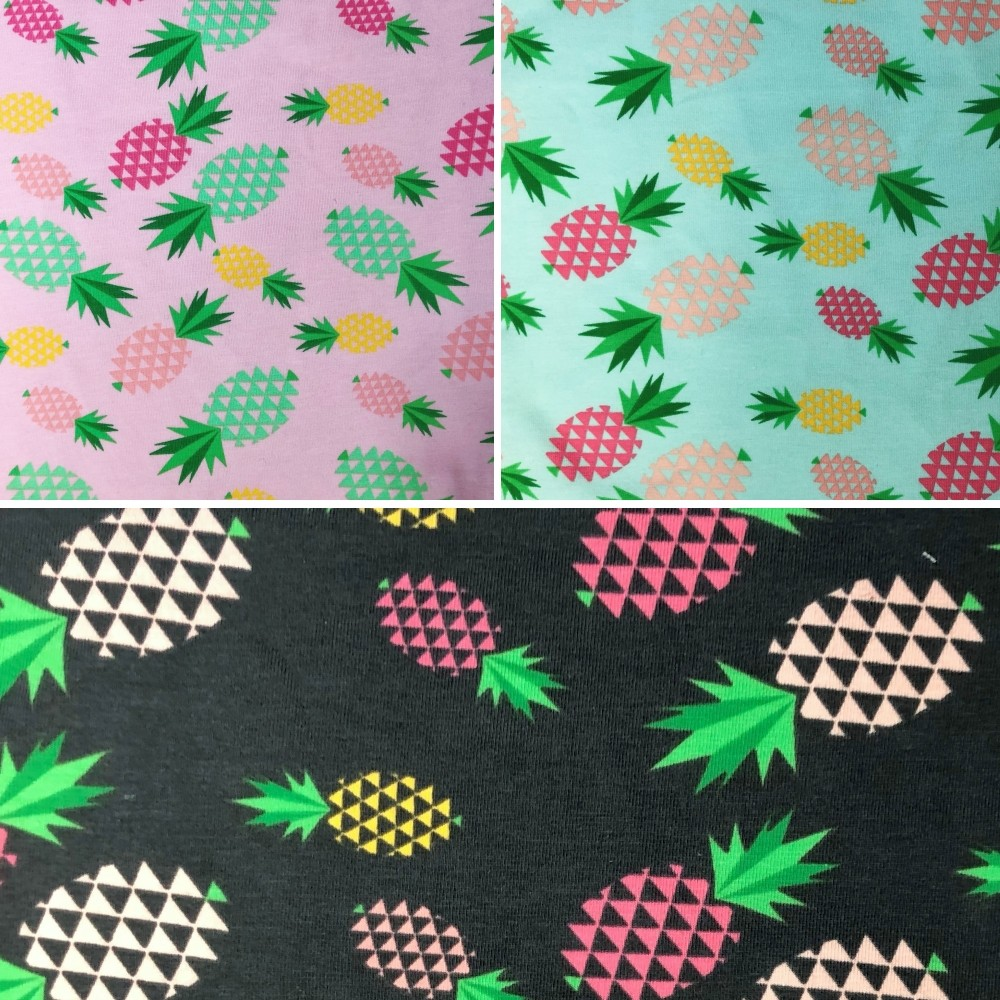 Cotton Elastane Jersey Stretch Fabric Pineapple Fruit Triangle Pink Green Yellow Dark Grey