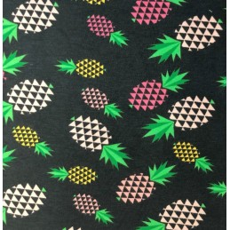 Cotton Elastane Jersey Stretch Fabric Pineapple Fruit Triangle Pink Green Yellow