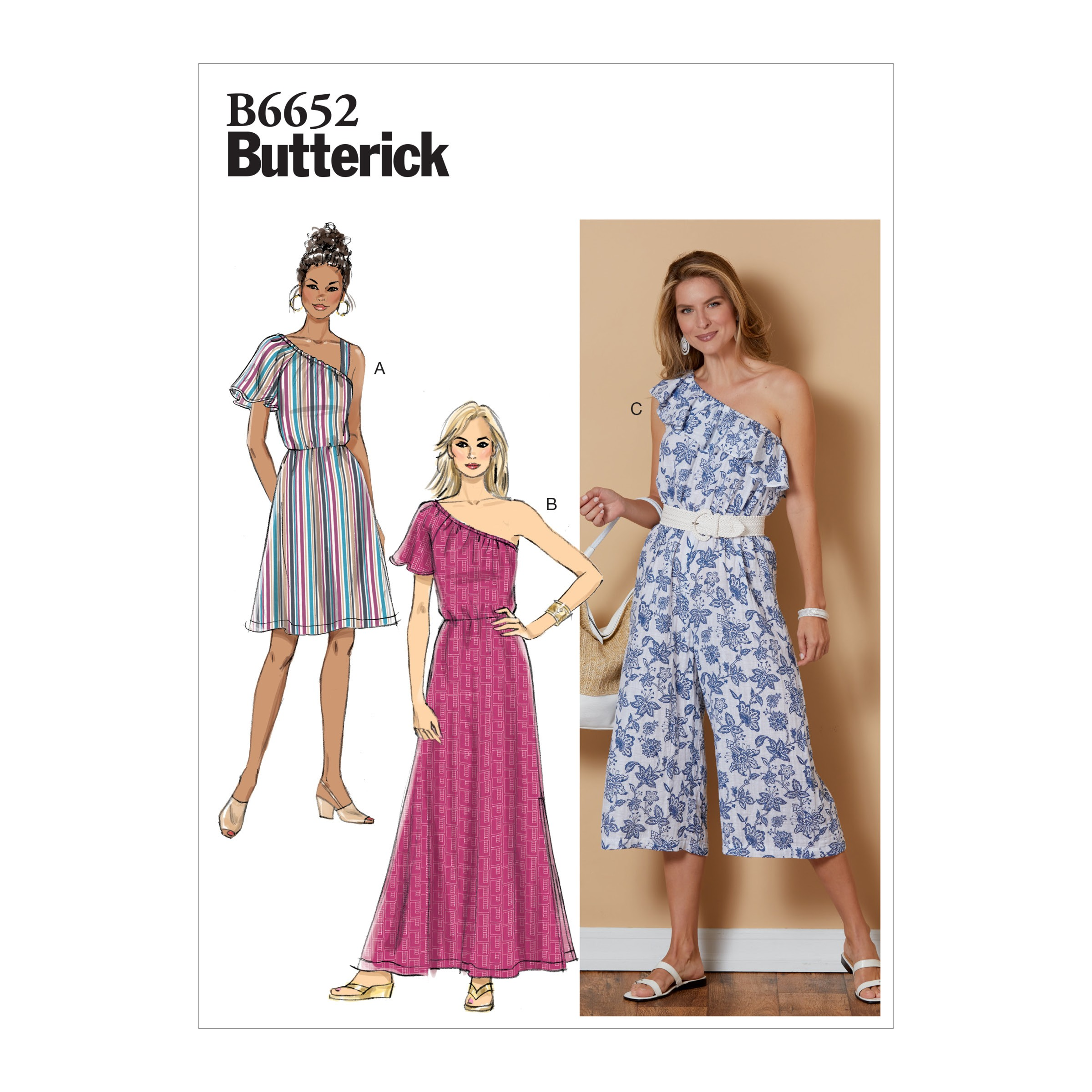 Butterick Sewing Pattern 6652 Misses' One Sleeve Dress and Jumpsuit with Wide Leg
