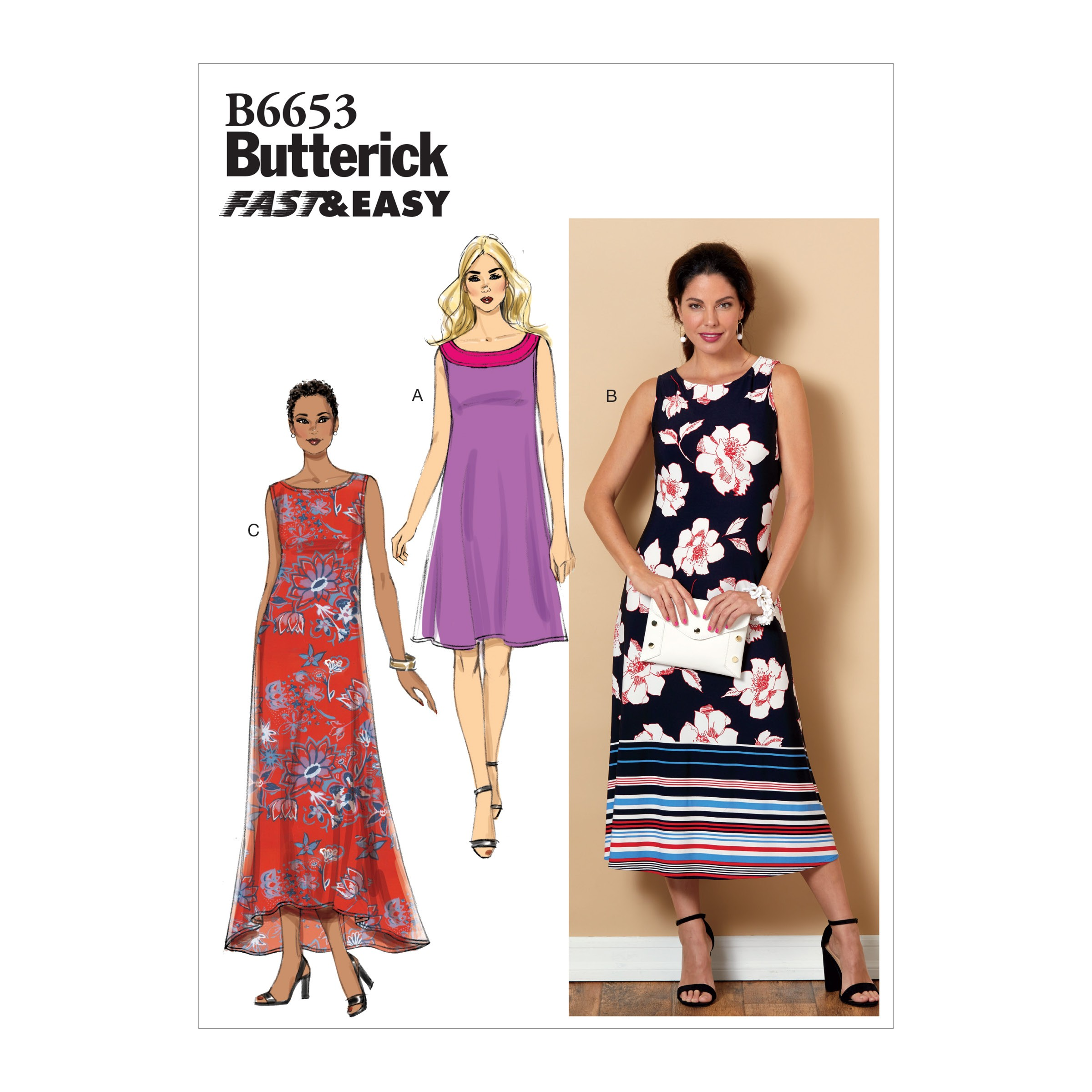 Butterick Sewing Pattern 6653 Misses' Loose Fitting Pullover Long Dress