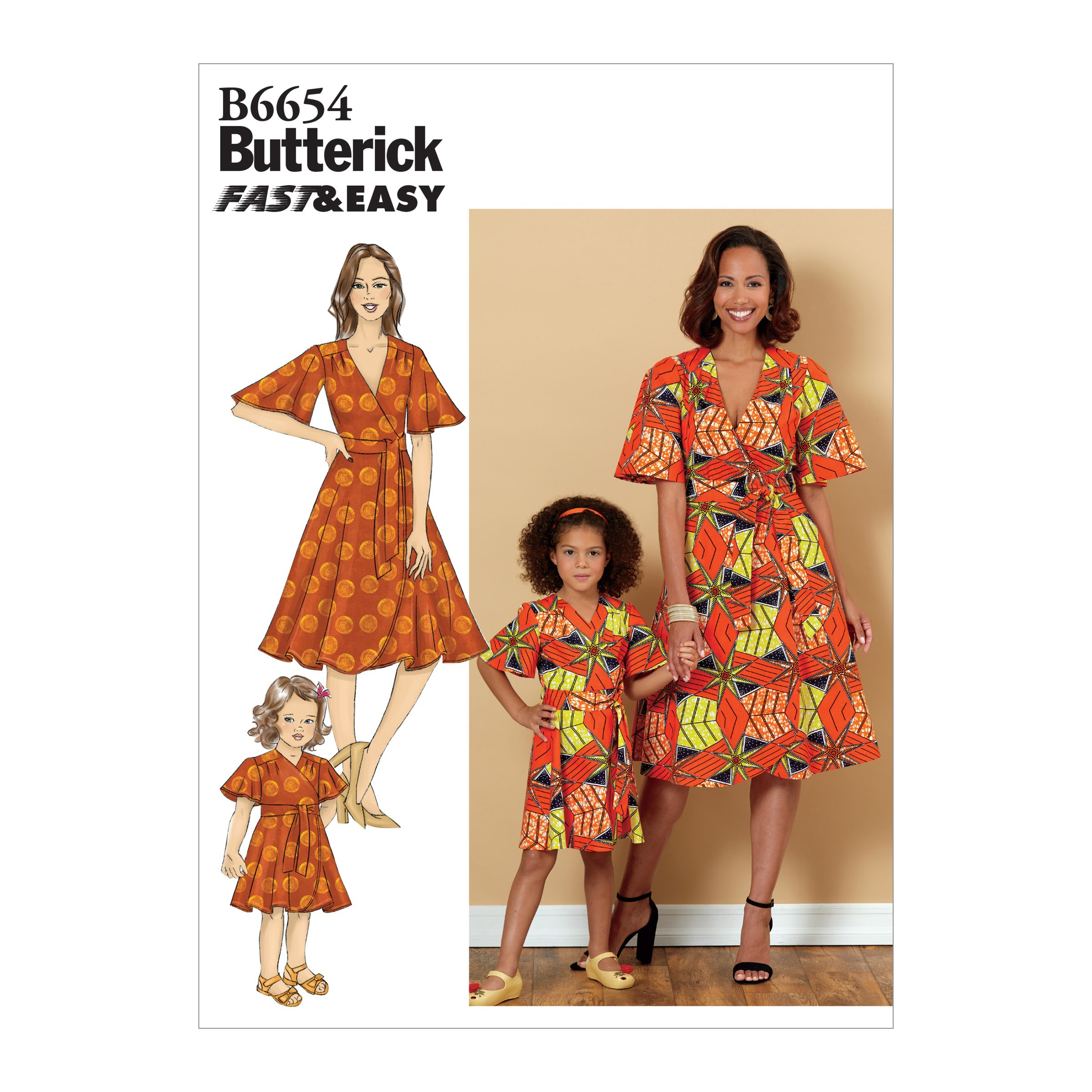 Butterick Sewing Pattern 6654 Misses' Mother and Daughter Matching Dress & Sash