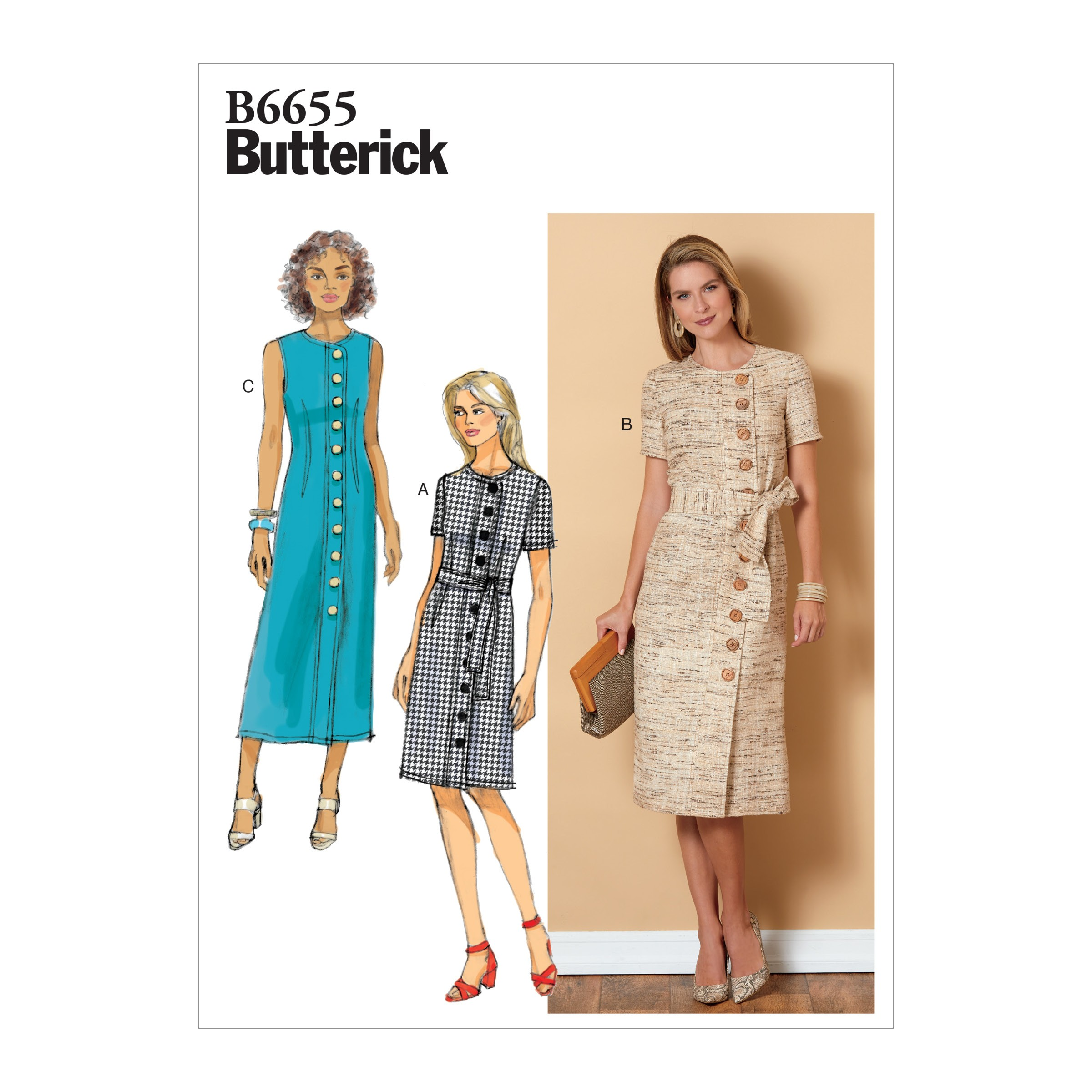 Butterick Sewing Pattern 6608 Misses' Petite Dress and Sash