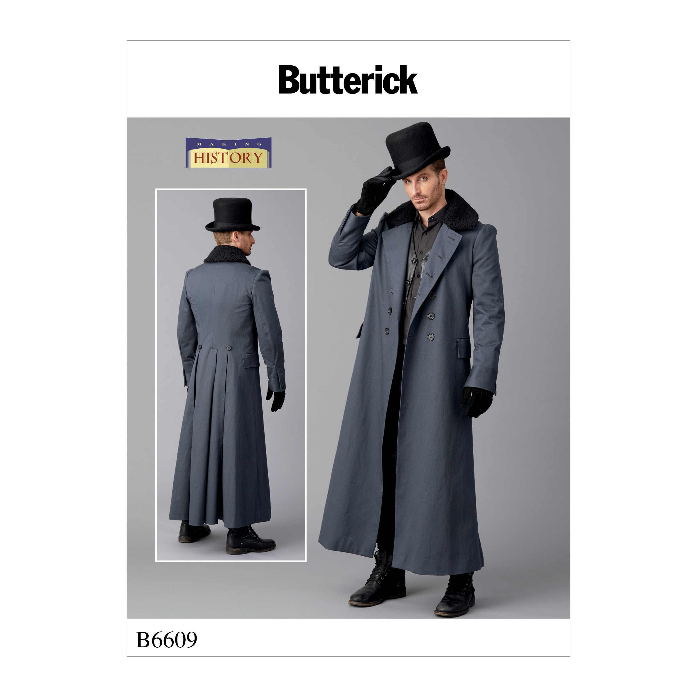 Butterick Sewing Pattern 6609 Men's Costume Long Coat Double Breasted