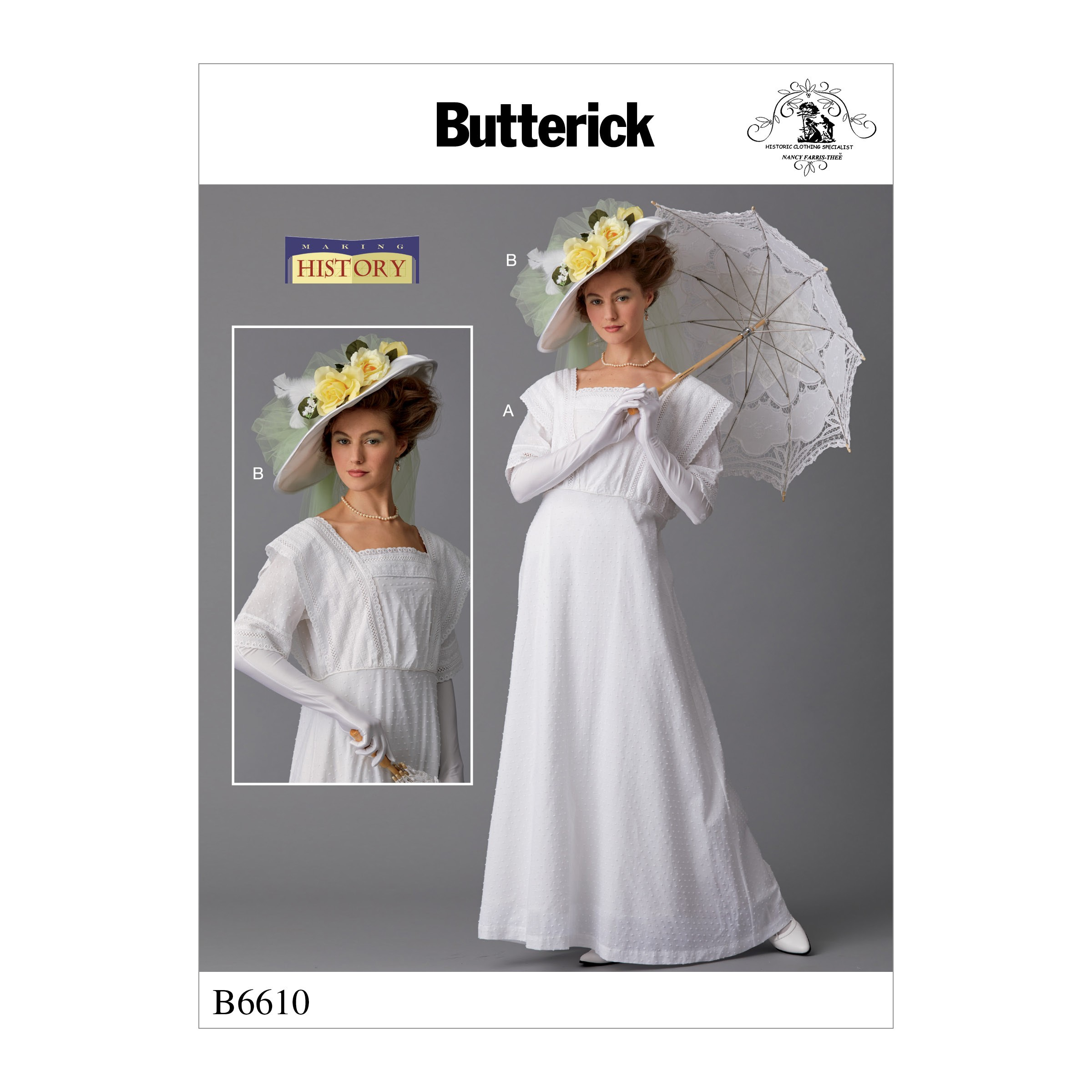 Butterick Sewing Pattern 6610 Misses' Vintage Period Dress and Hat