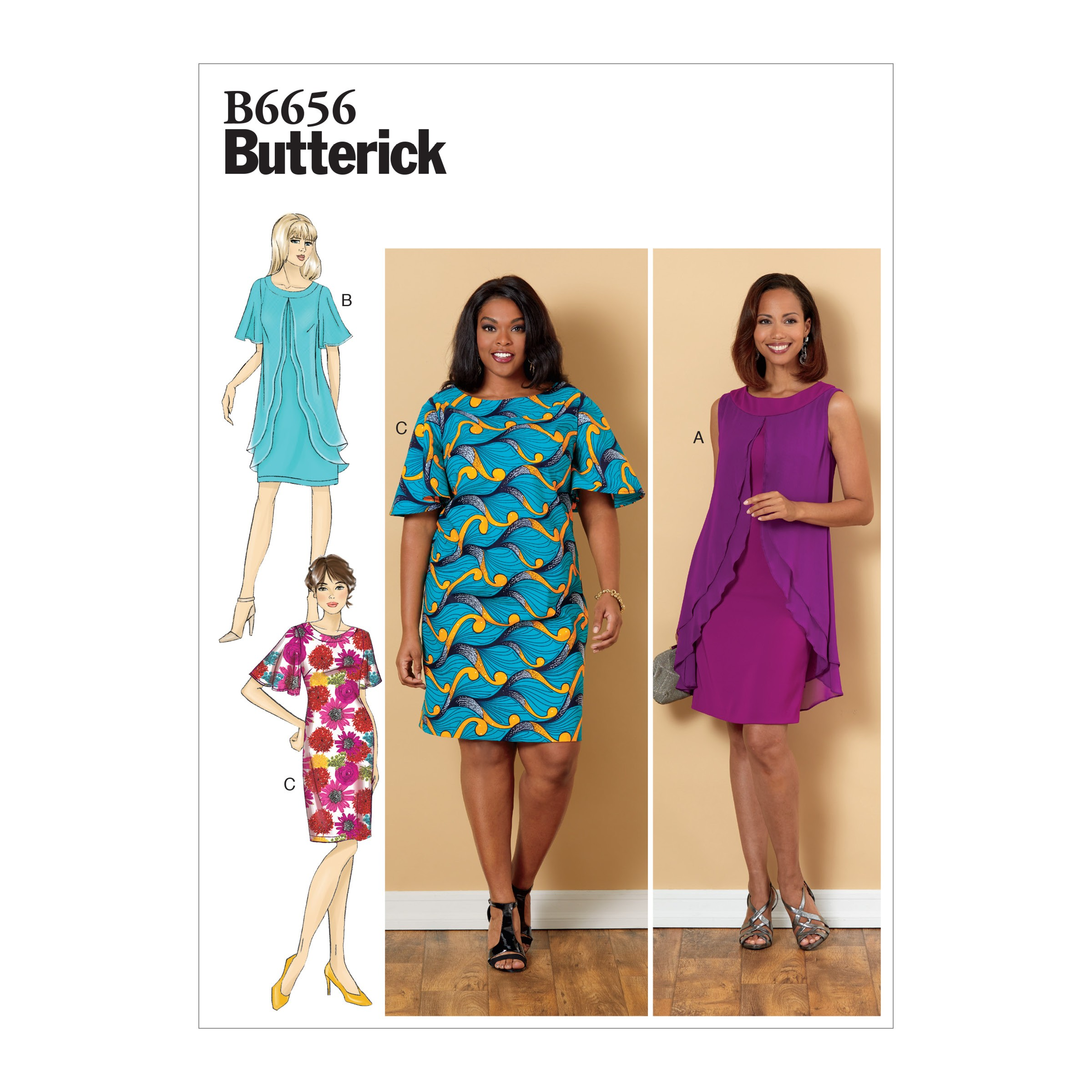 Butterick Sewing Pattern 6608 Misses' Fitted Dress with Frilly Chiffon