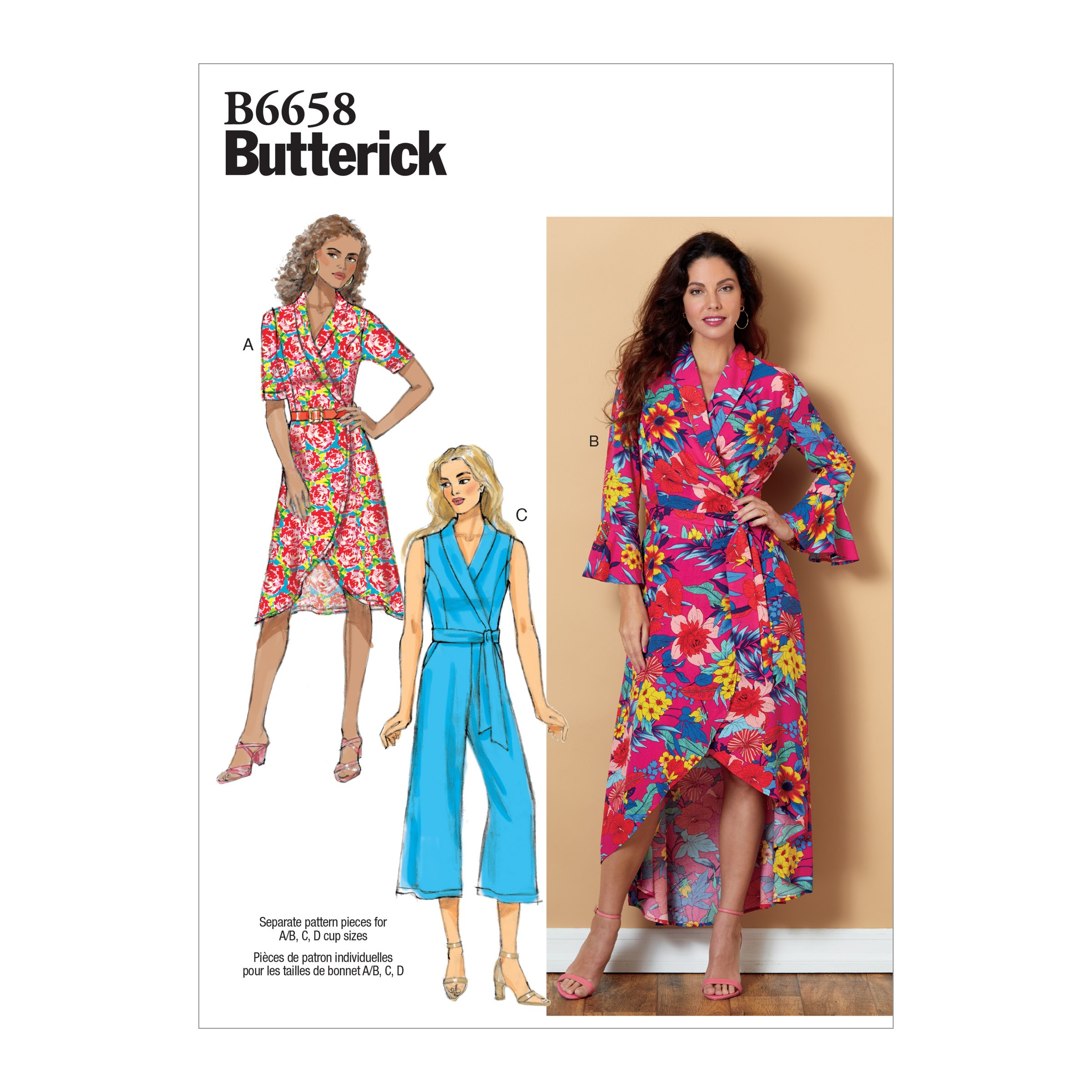 Butterick Sewing Pattern 6658 Misses' Dress or Jumpsuit with Sash