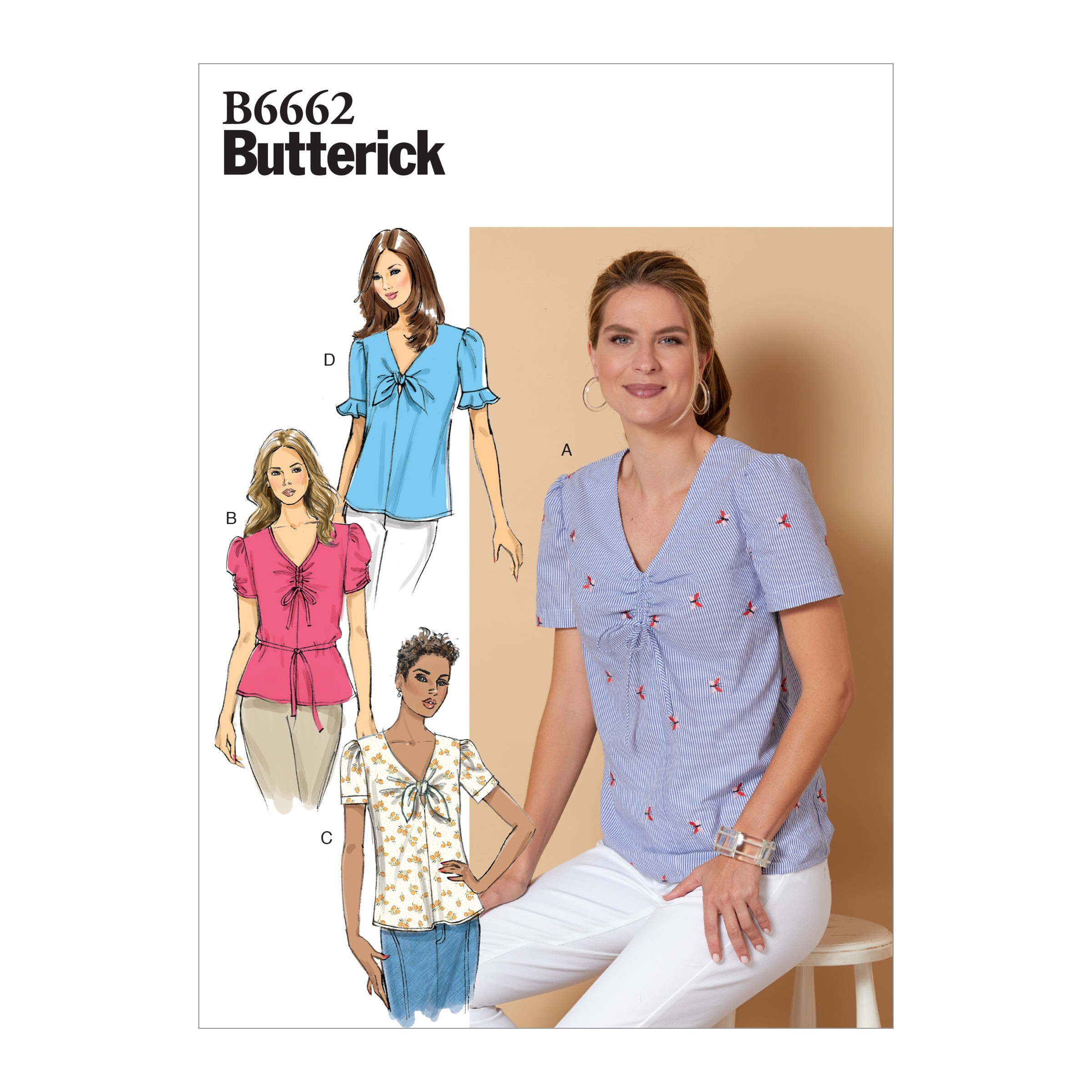 Butterick Sewing Pattern 6662 Misses' Semi-Fitted Pullover Top and Tie