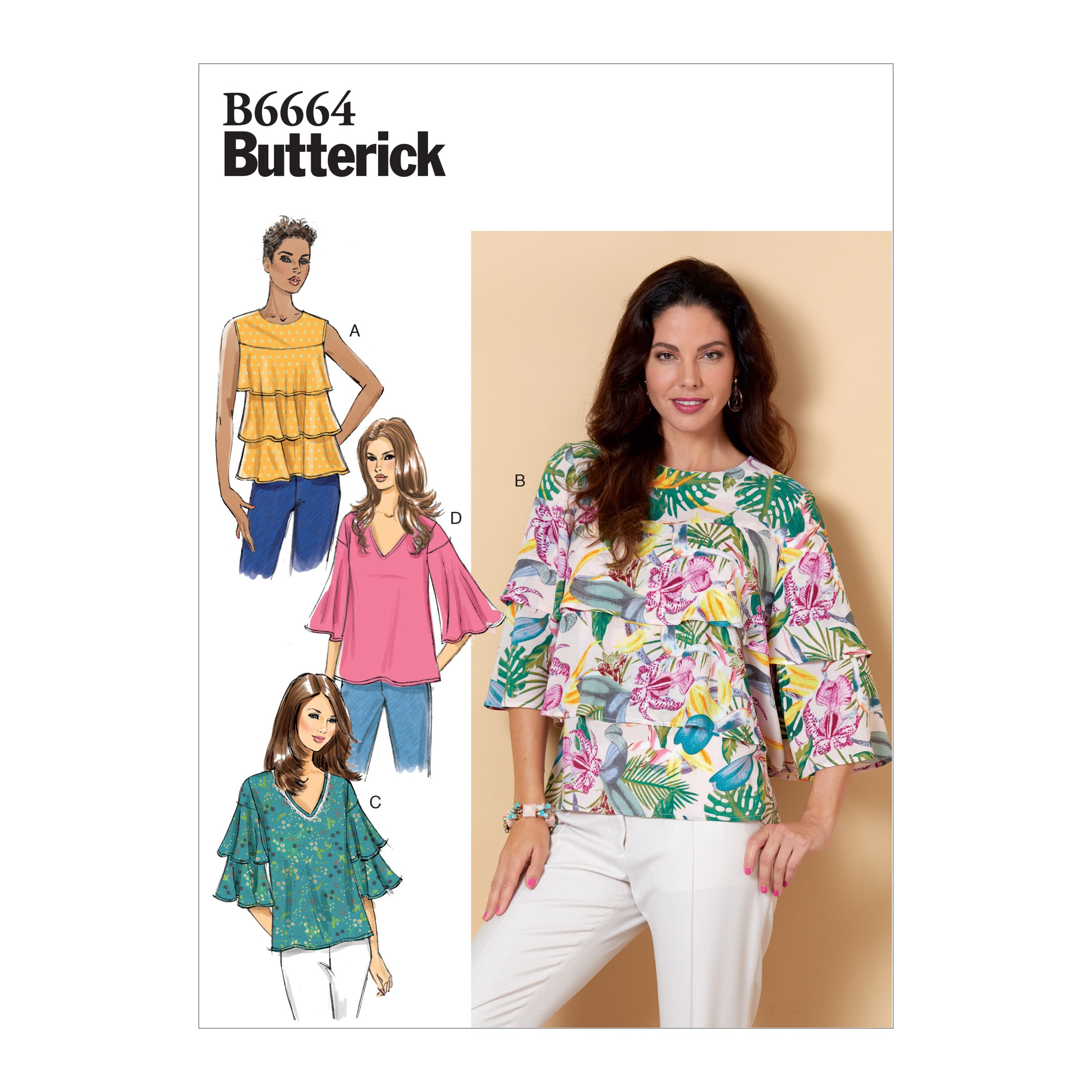 Butterick Sewing Pattern 6663 Misses' Semi Fitted Short Sleeve Top