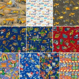 100% Cotton Fabric Nutex Construction Vehicles Novelty Collection