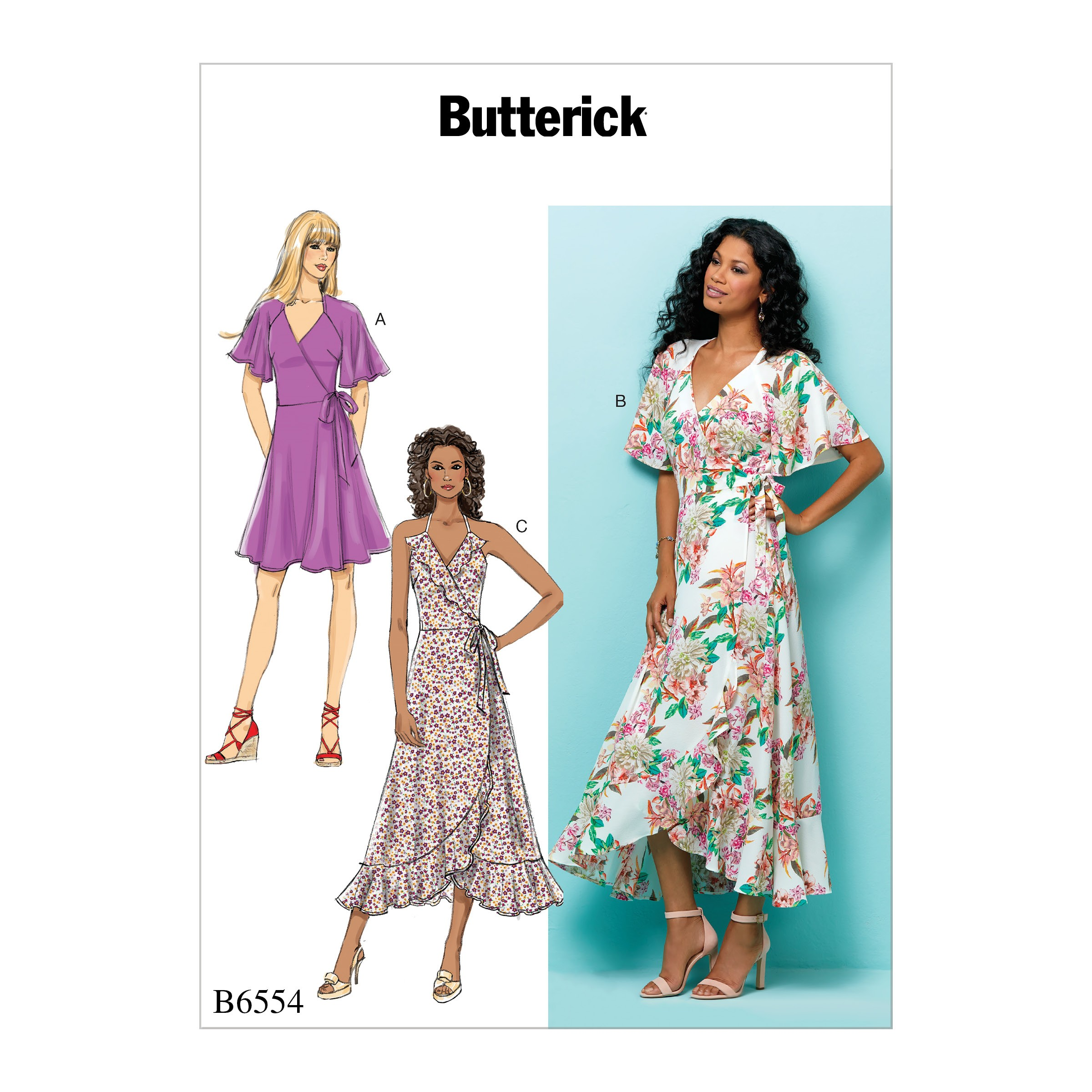 Butterick Sewing Pattern 6554 Misses' Wrap Dress with Flutter Sleeve and Flounces