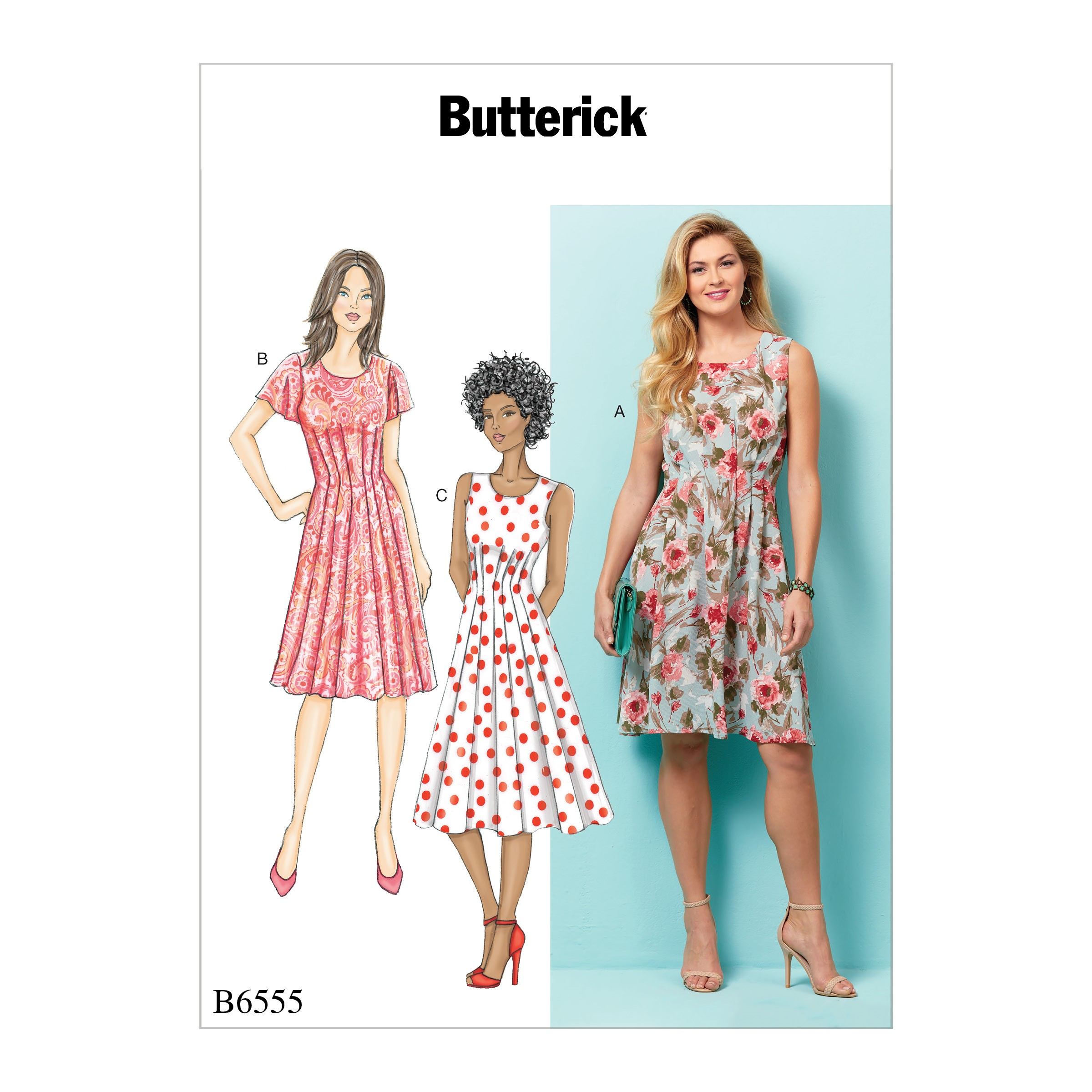 f2aeaf97cd89 Butterick Sewing Pattern 6555 Misses' Summer Dresses with Front Ple...
