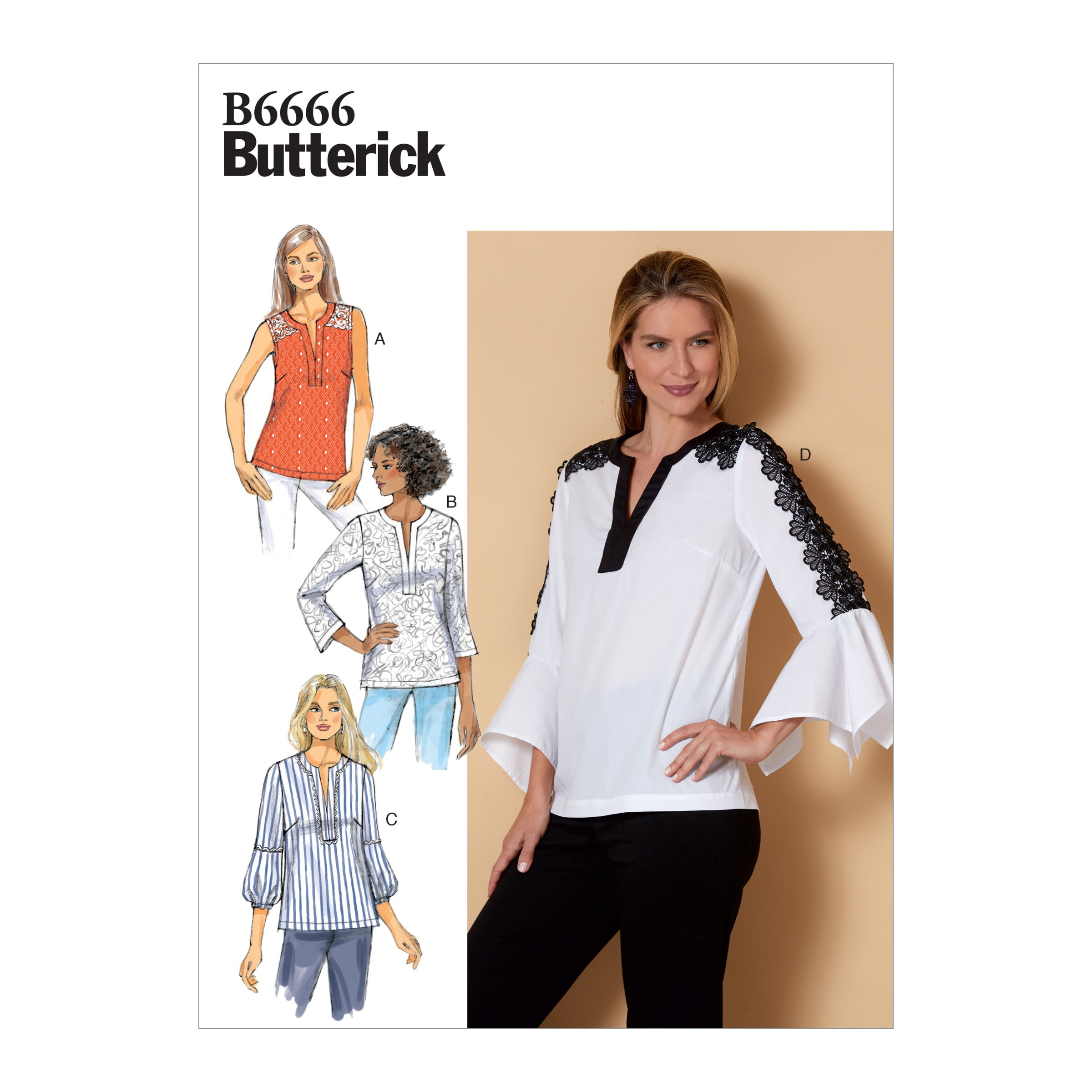 Butterick Sewing Pattern 6664 Misses' Loose-fitting Frilly Arm Pullover Top