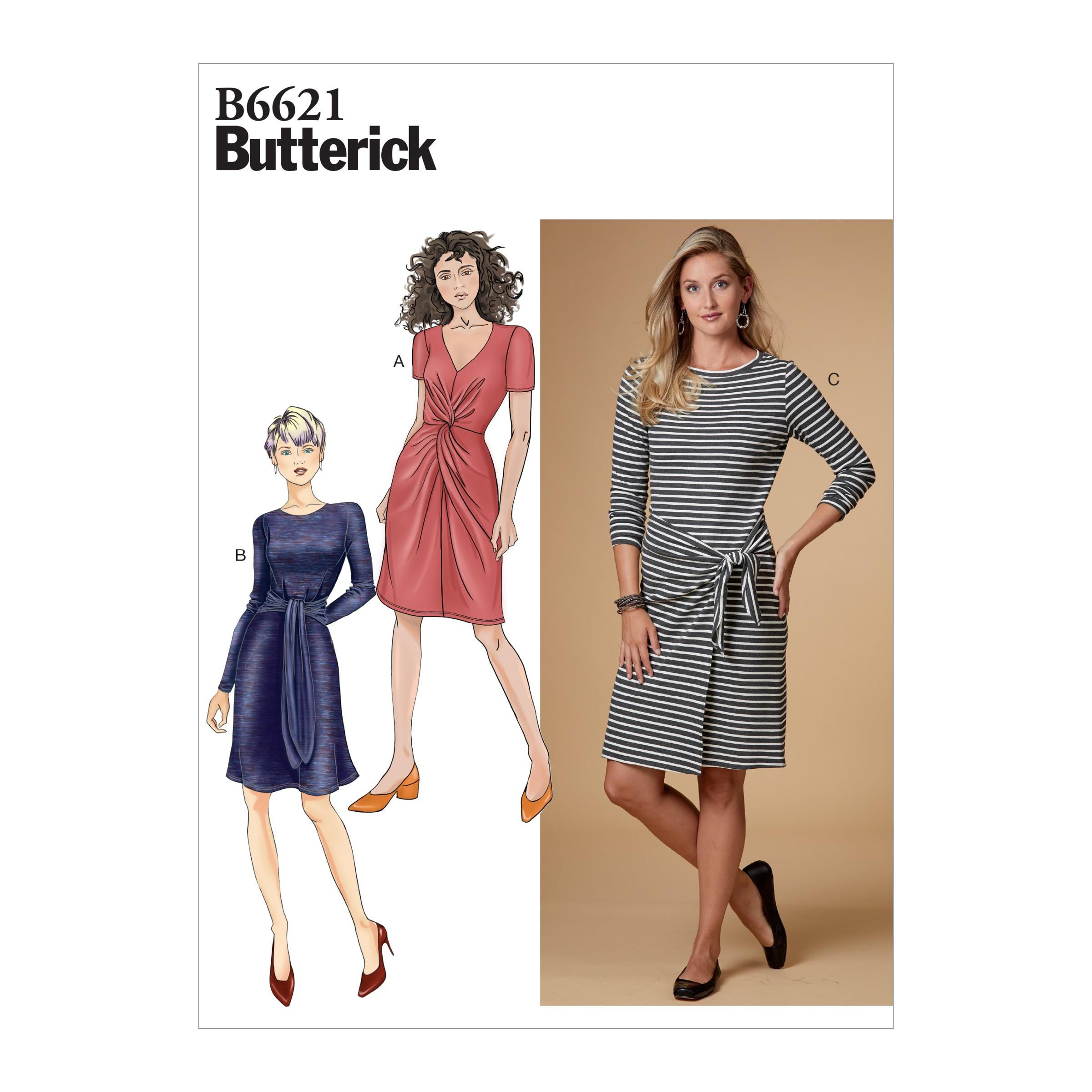 Butterick Sewing Pattern 6621 Women's Twist Or Knot Dress