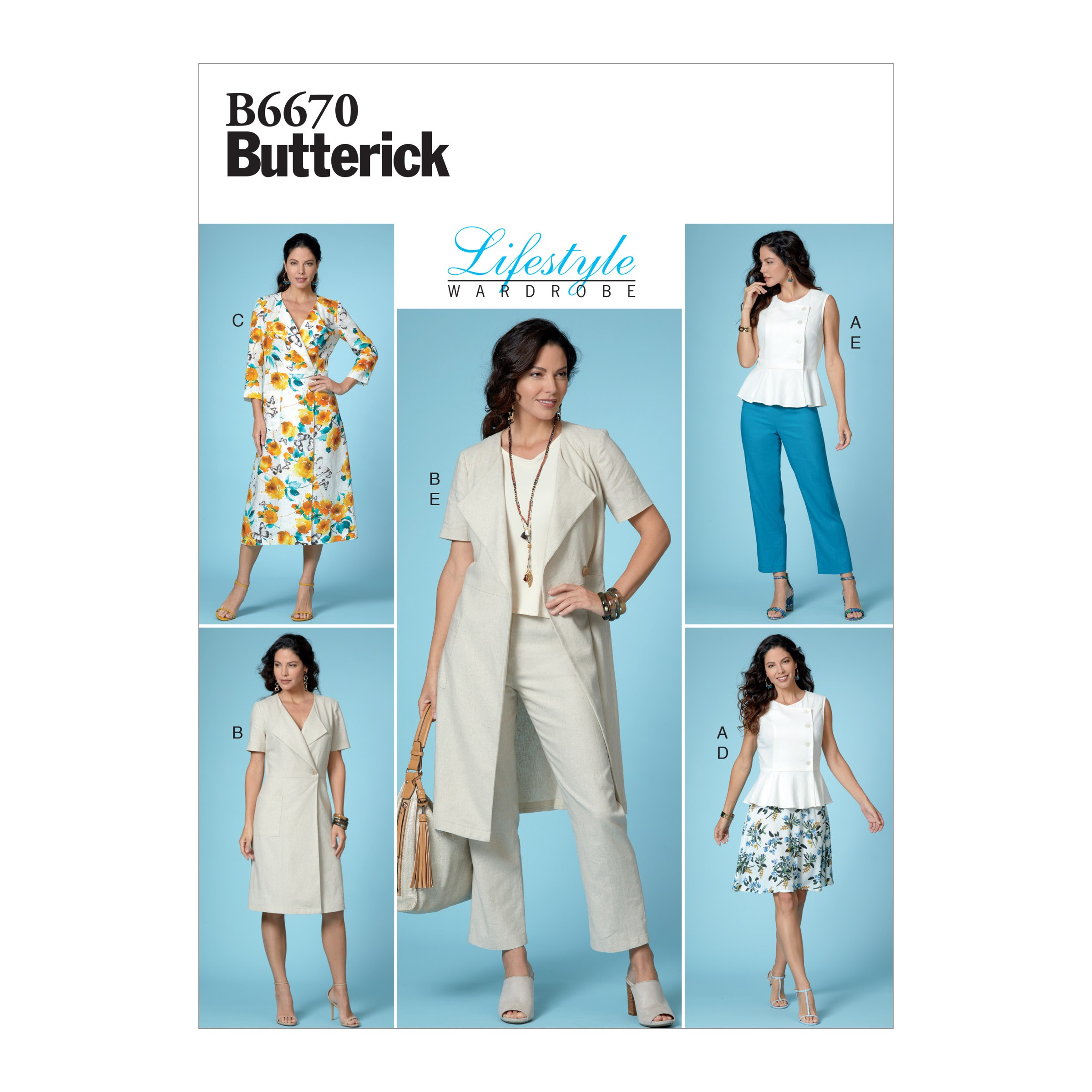Butterick Sewing Pattern 6670 Misses' Button-Front Top and Dress