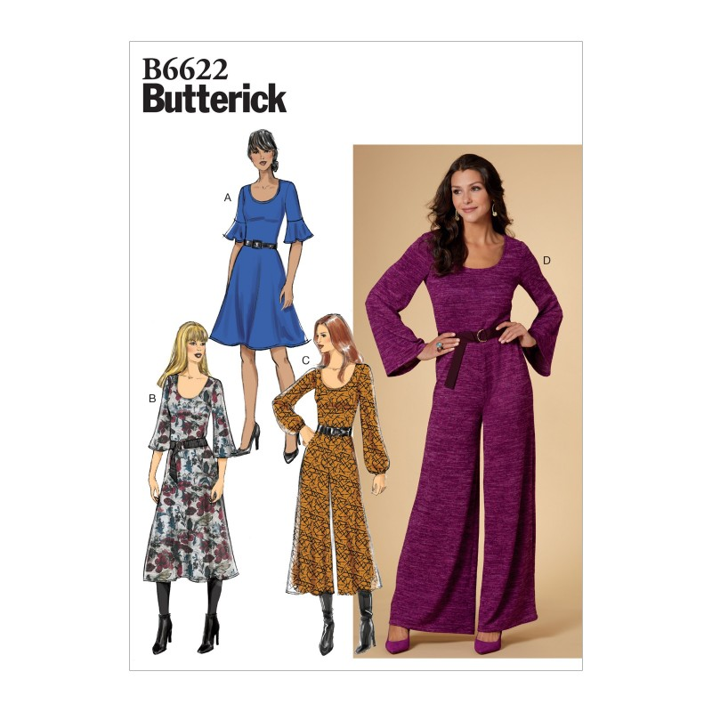 Butterick Sewing Pattern 6622 Women's Dress And Flared Jumpsuit