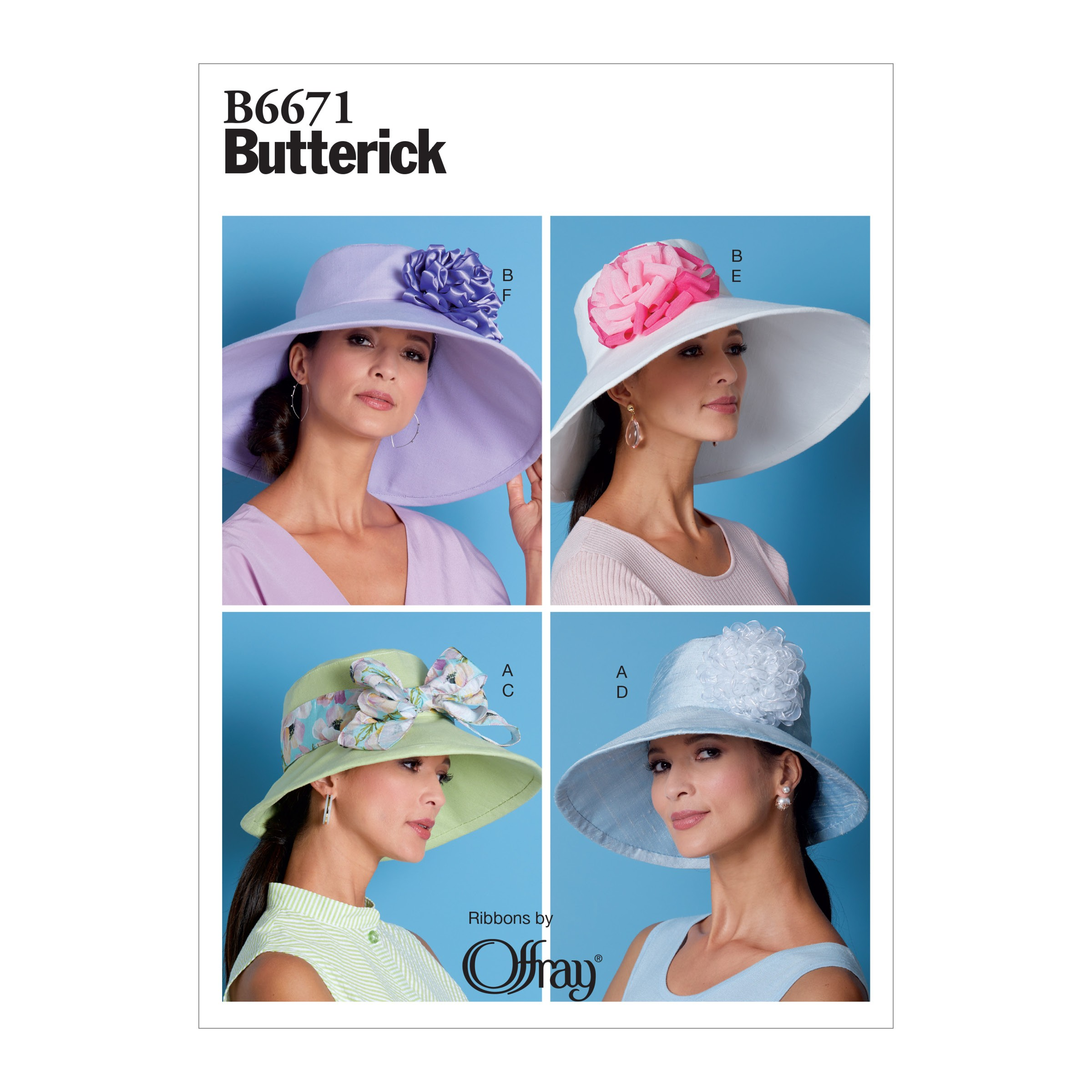 Butterick Sewing Pattern 6671 Misses' Wide Brim Hat