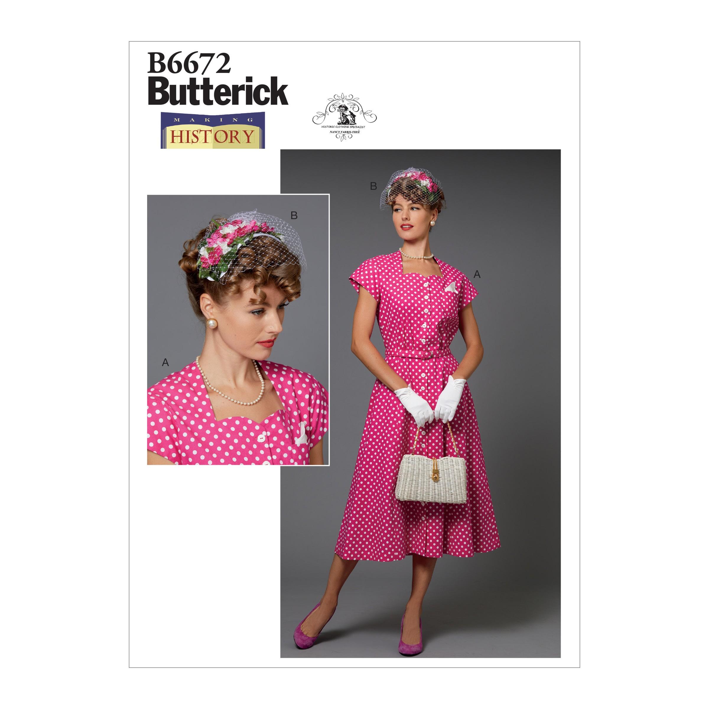 Butterick Sewing Pattern 6672 Misses' Vintage Inspired Audrey Hepburn Dress