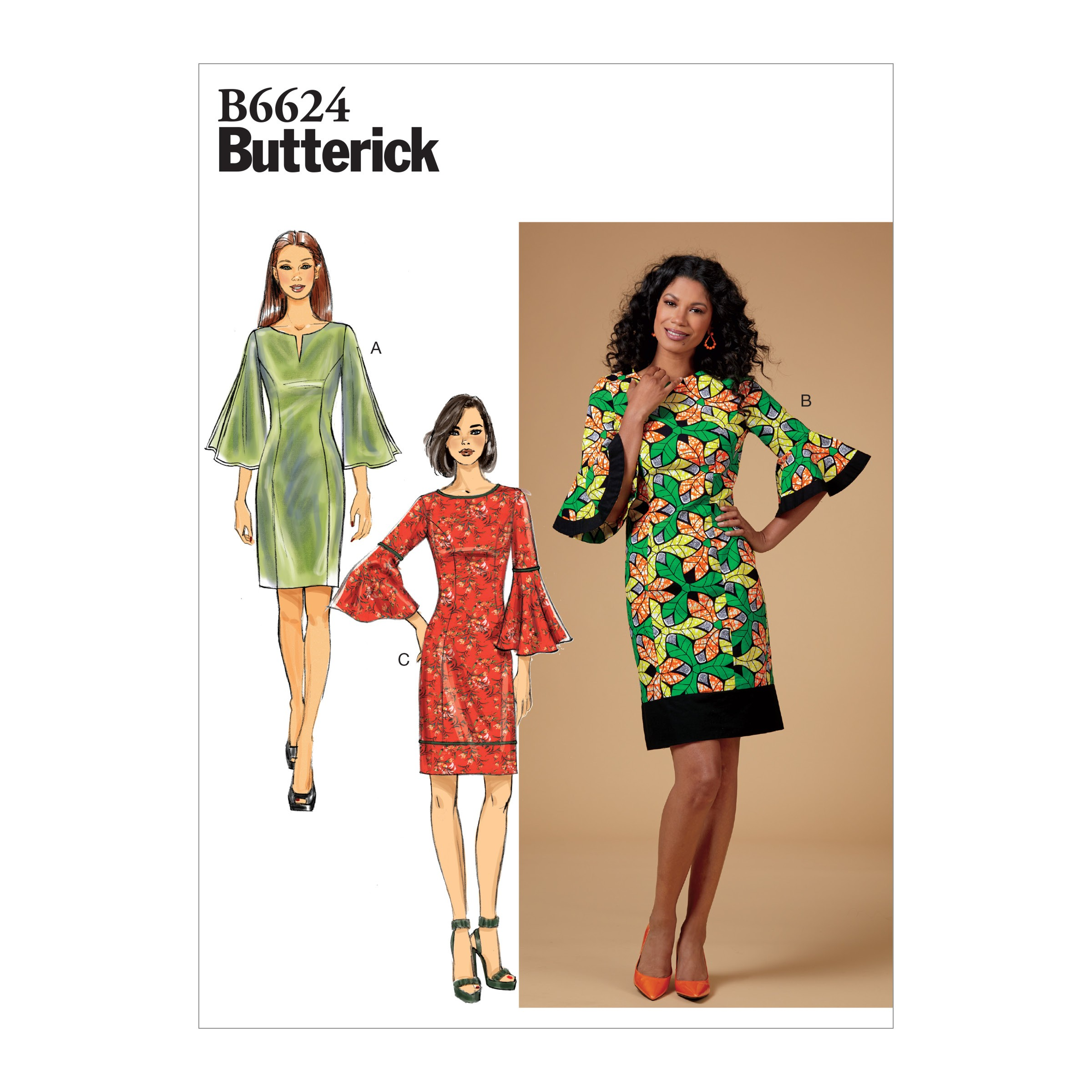 Butterick Sewing Pattern 6624 Women's Petite Dress With Flared Sleeves