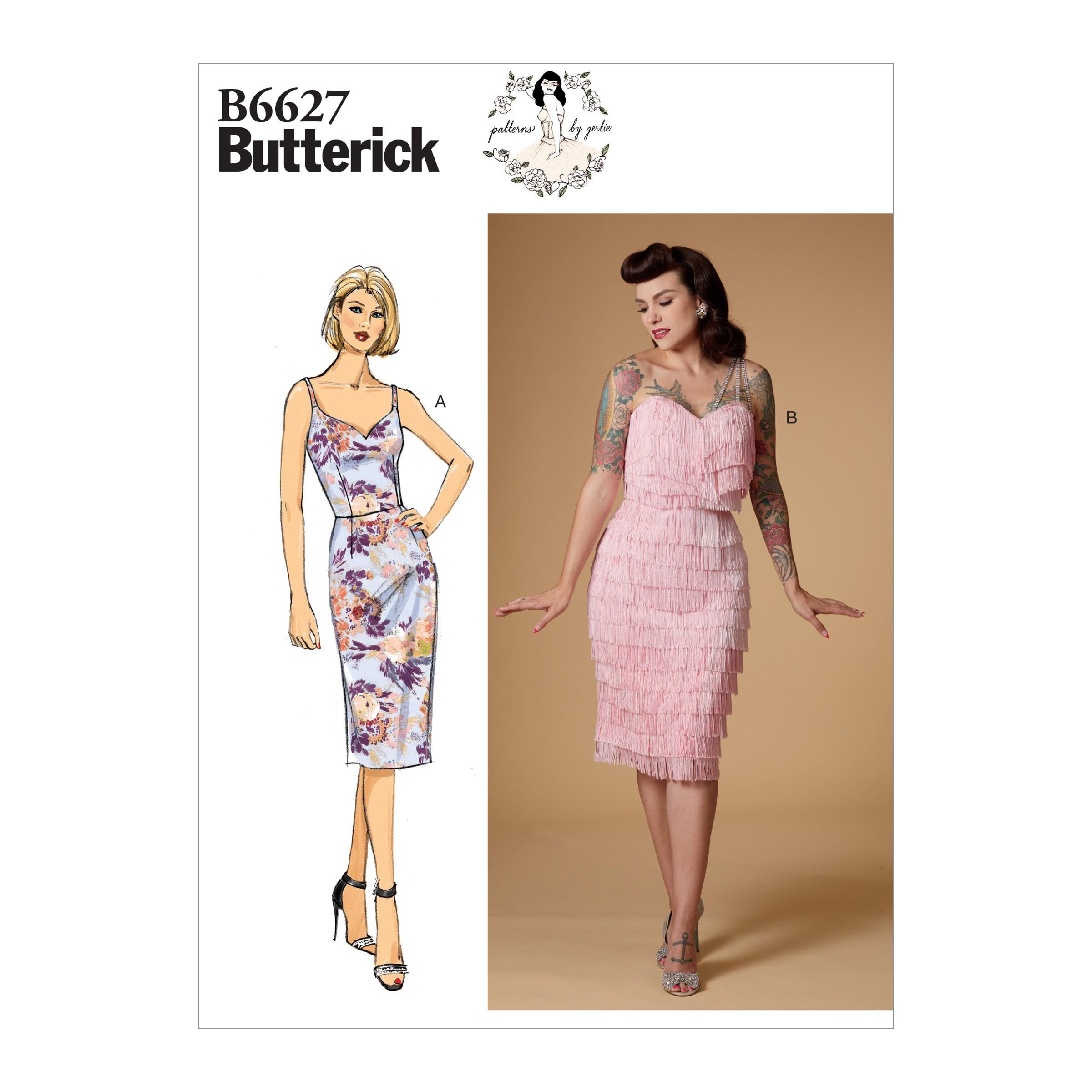 Butterick Sewing Pattern 6627 Women's Sweetheart Neck Dress