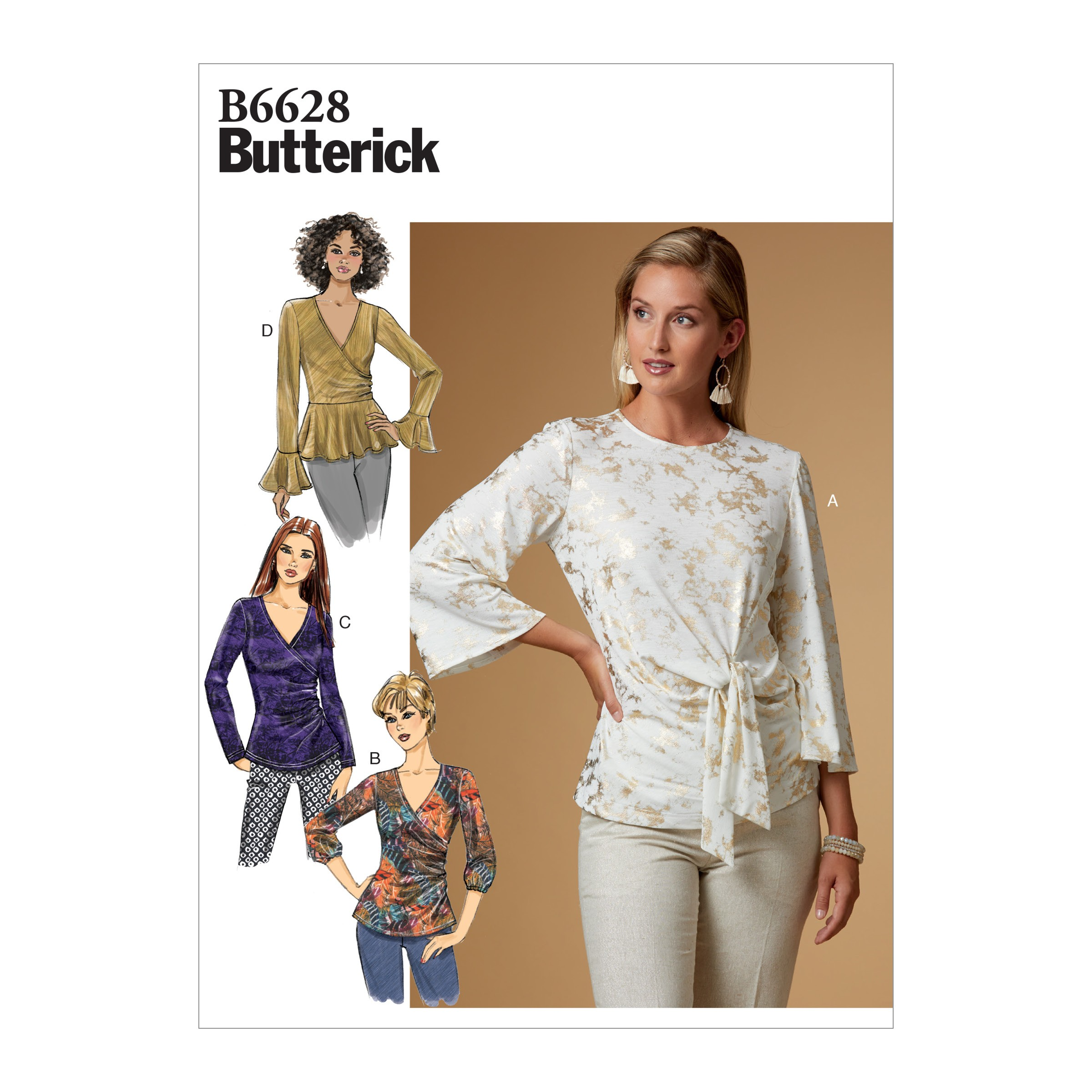 Butterick Sewing Pattern 6628 Women's Wrap Or Knot Top