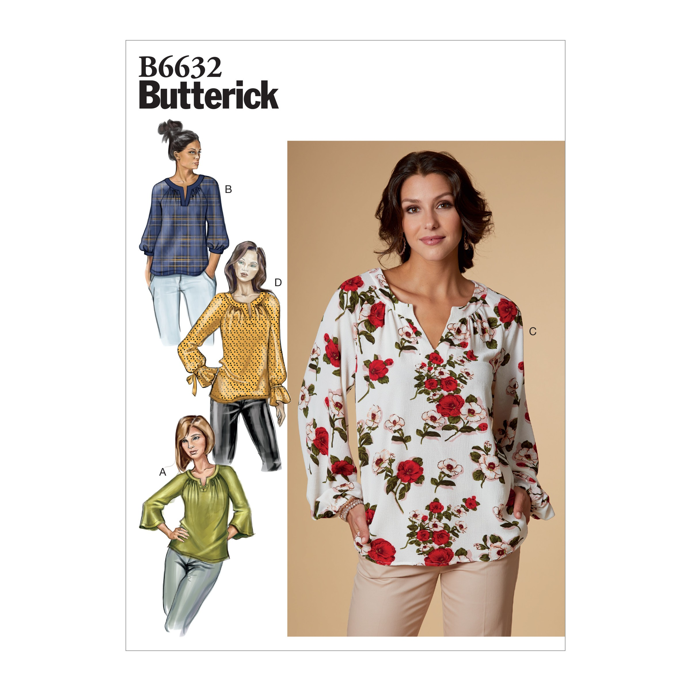 Butterick Sewing Pattern 6632 Women's Pull Over Shirt Top