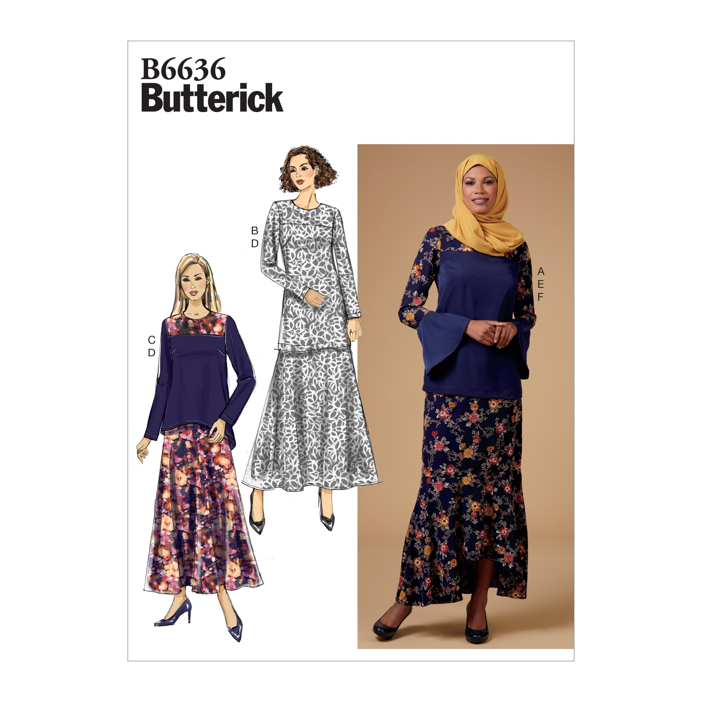 Butterick Sewing Pattern 6636 Women's Top Tunic Skirt And Scarf