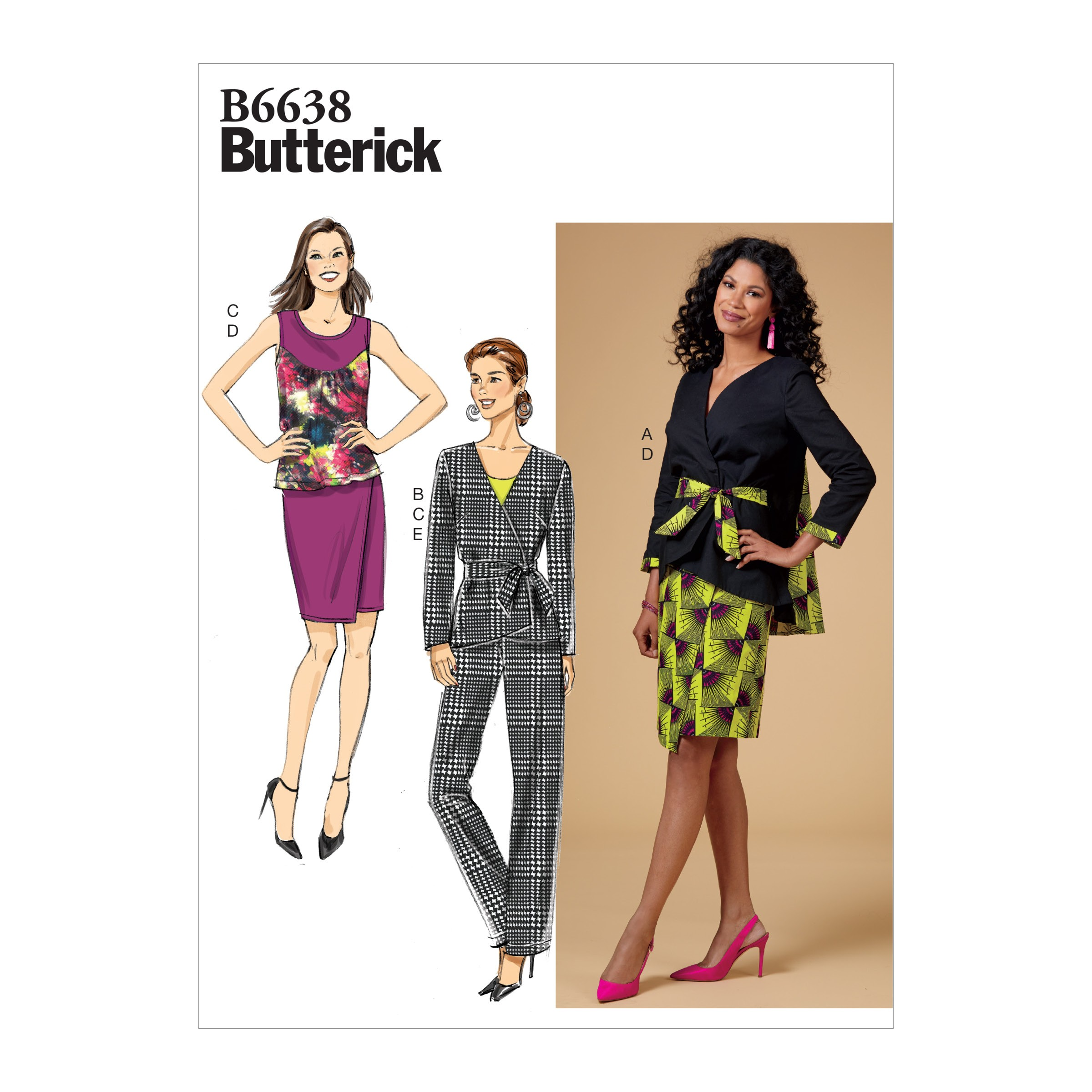 Butterick Sewing Pattern 6638 Women's Jacket Top Skirt Trousers & Sash