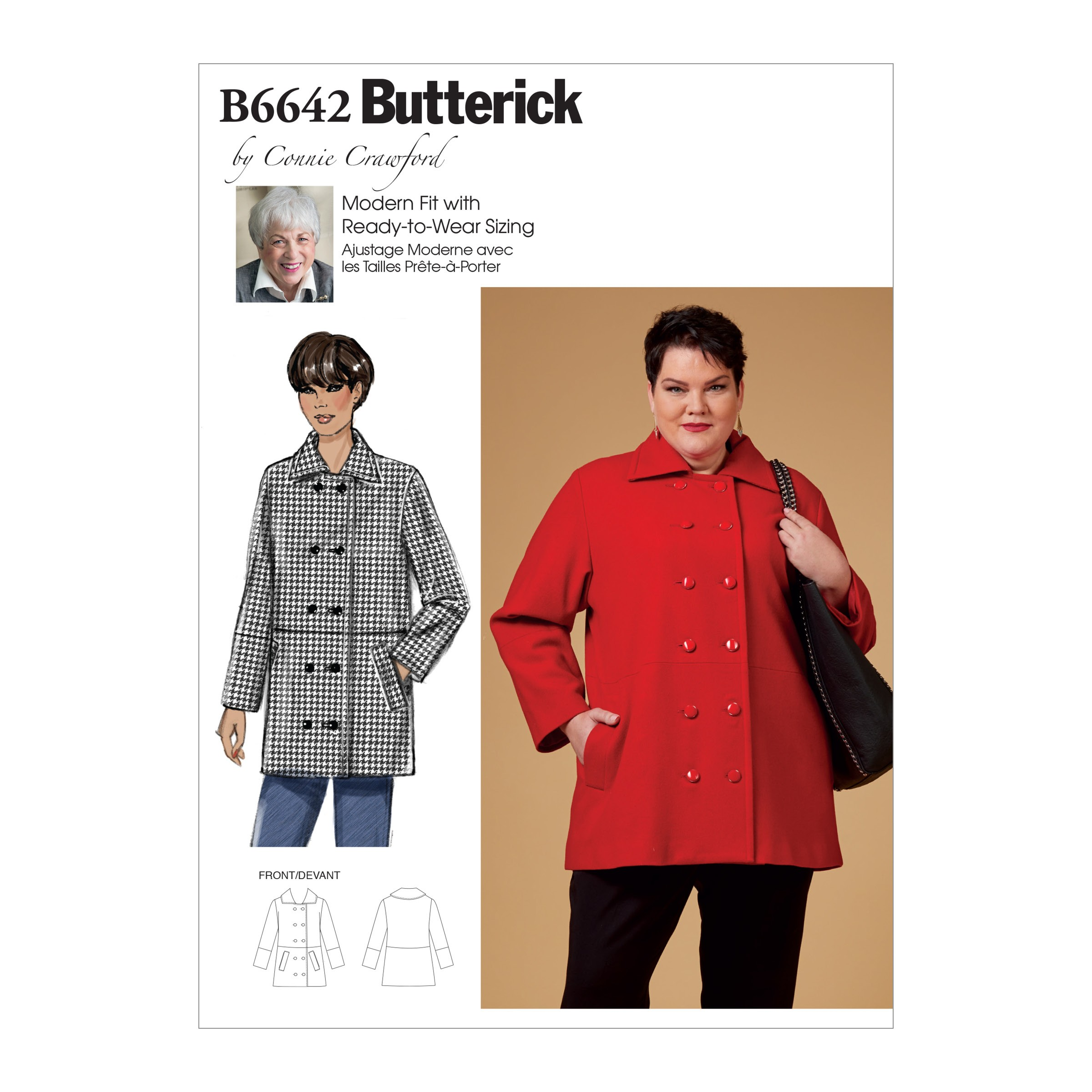 Butterick Sewing Pattern 6642 Women's Double Breasted Coat