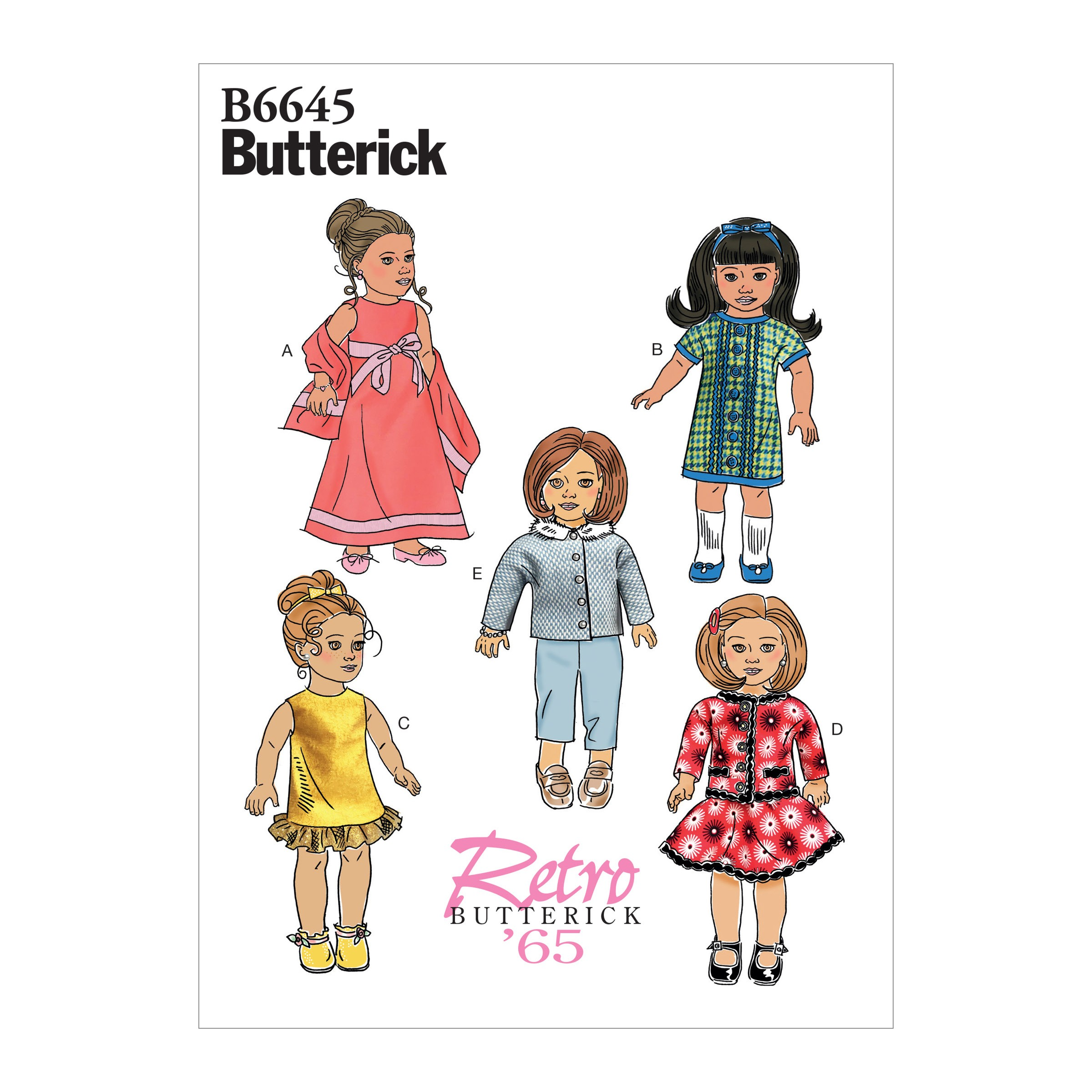 "Butterick Sewing Pattern 6645 Children's Clothes For 18"" Doll"