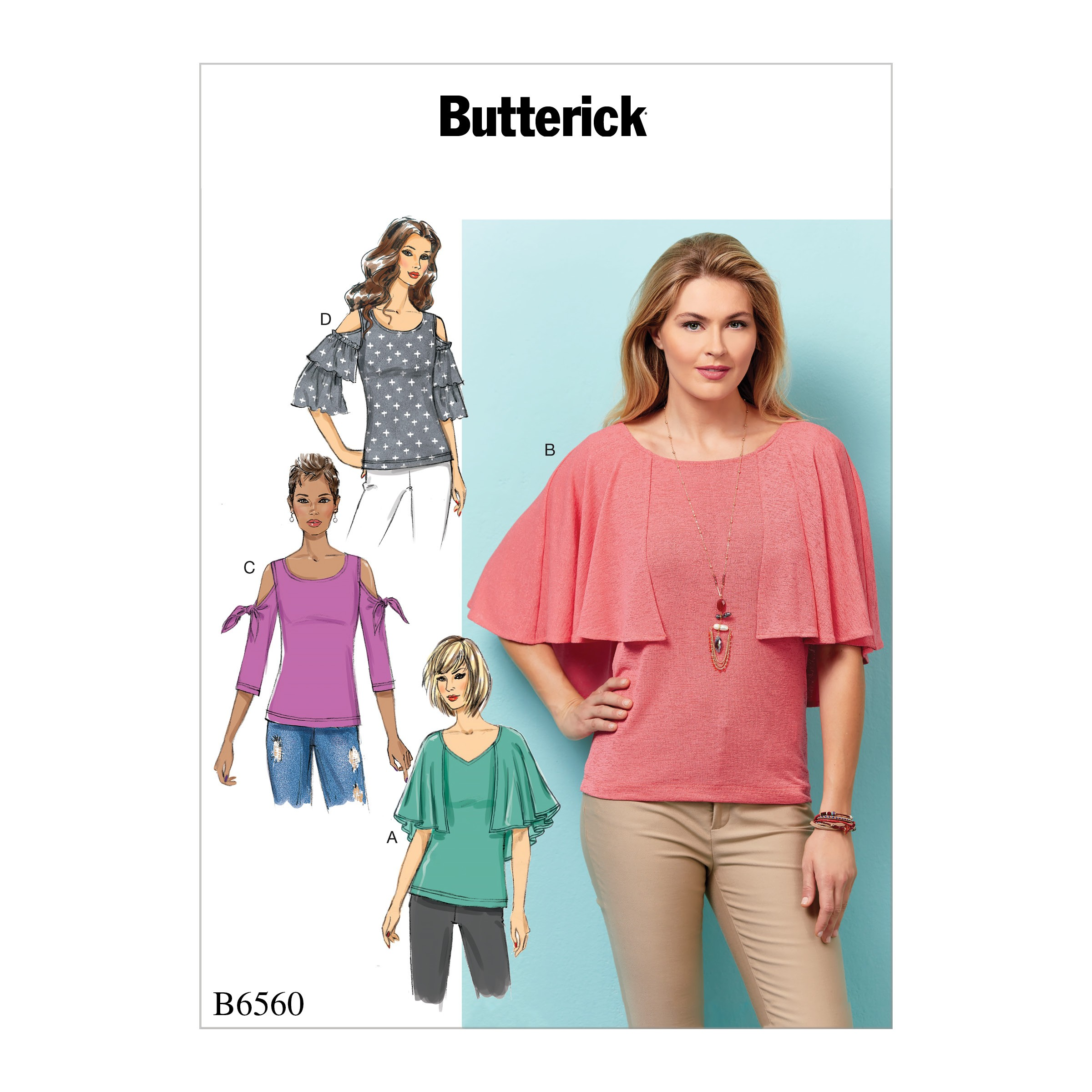 Butterick Sewing Pattern 6560 Misses' Flared or Knotted Arm Loose Fitting Top