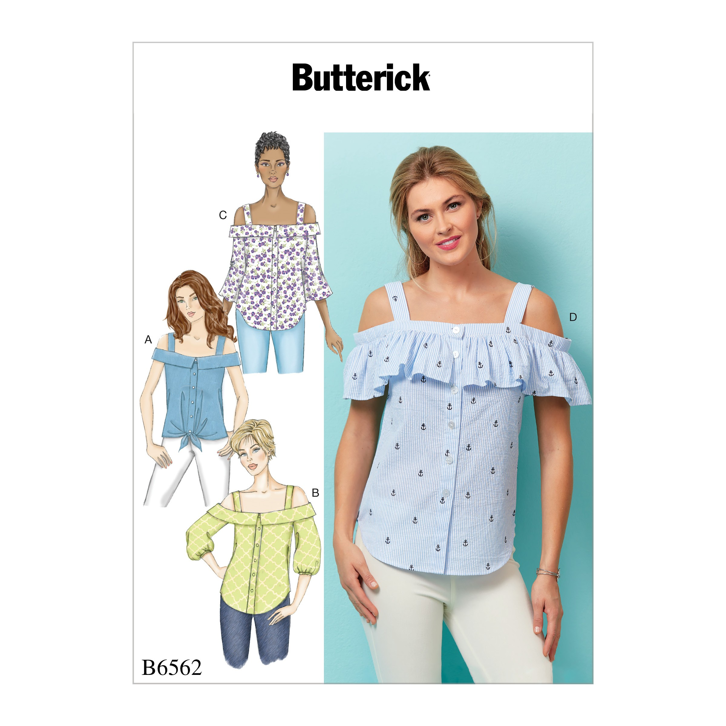 Butterick Sewing Pattern 6562 Misses' Fitted Button Front With Cut Out Shoulder
