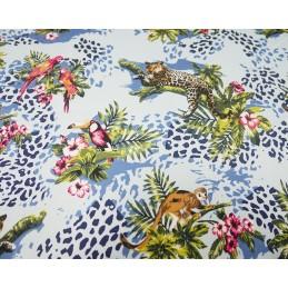 Cotton Elastane Stretch Sateen Fabric Jungle Monkey Parrot Leopard Floral Leaves