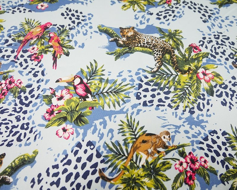 Cotton Elastane Stretch Fabric Jungle Monkey Parrot Leopard Floral Leaves 441 Sky